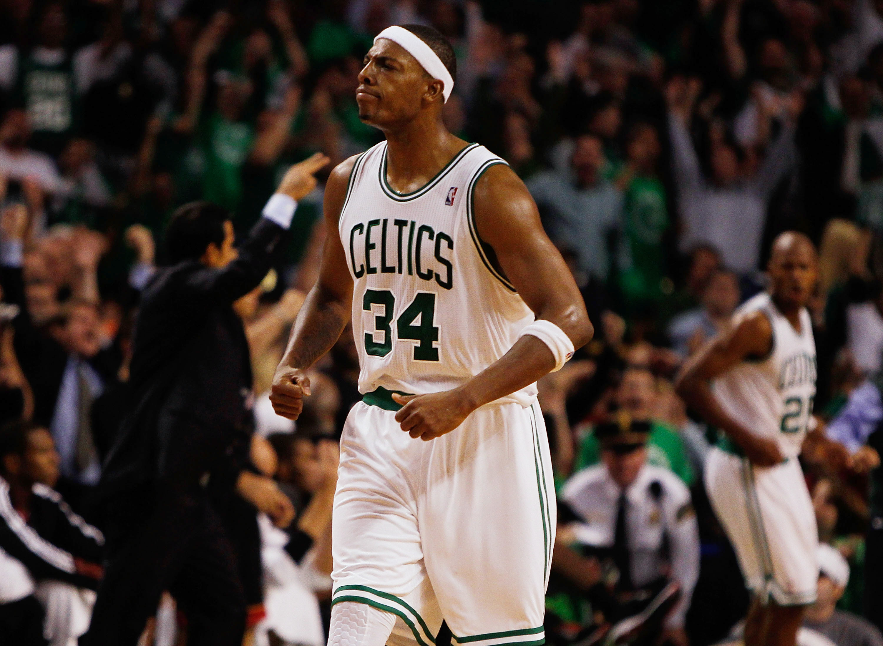 BOSTON, MA - OCTOBER 26:  Paul Pierce #34 of the Boston Celtics reacts after teammate Ray Allen #20 shoot a three-point basket during a game against the Miami Heat at the TD Banknorth Garden on October 26, 2010 in Boston, Massachusetts. NOTE TO USER: User