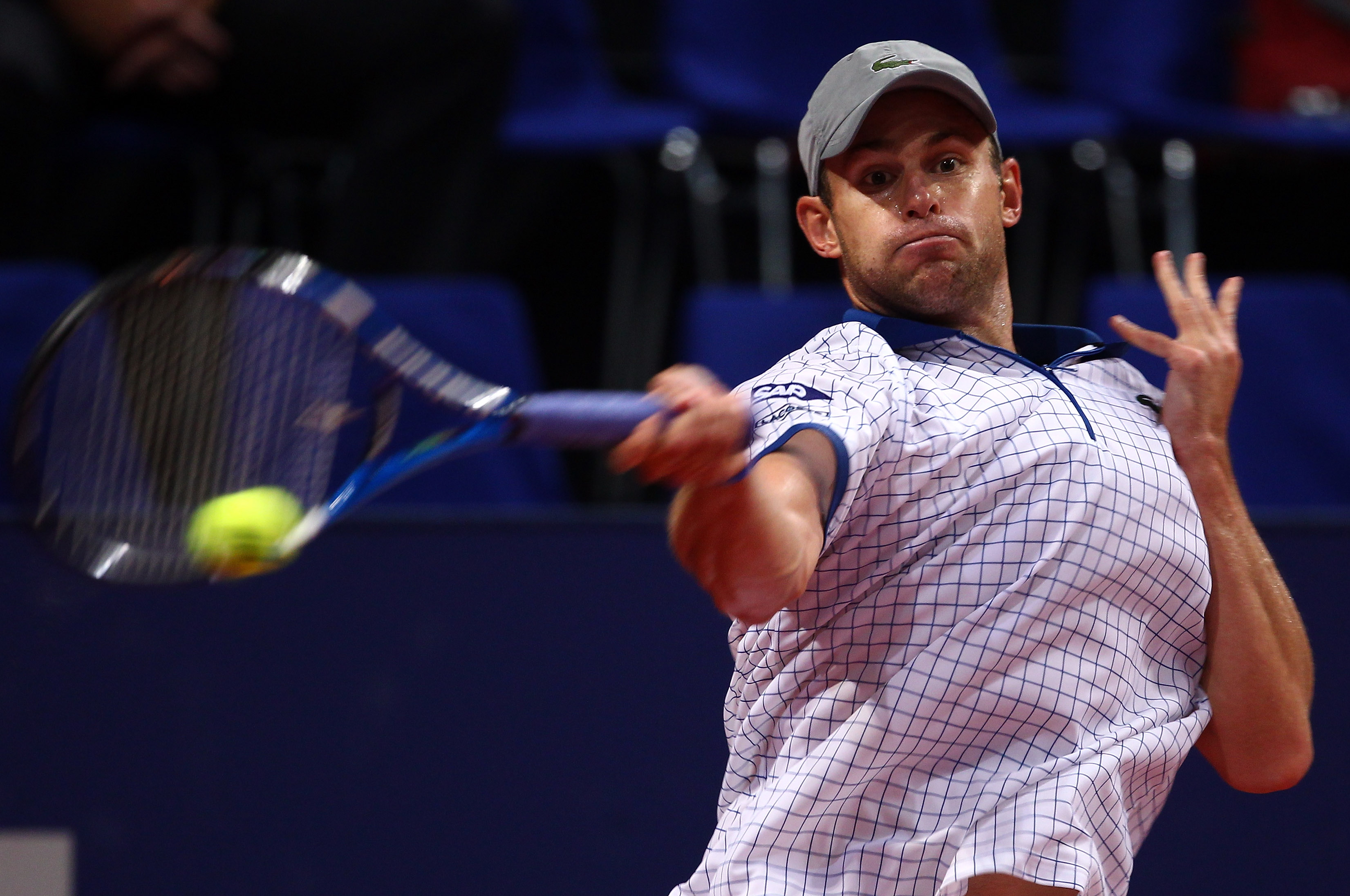 BASEL, SWITZERLAND - NOVEMBER 03:  Andy Roddick of USA plays a forehand in his match against Sam Querrey of USA during Day Three of the Davidoff Swiss Indoors Tennis at St Jakobshalle on November 3, 2010 in Basel, Switzerland.  (Photo by Julian Finney/Get