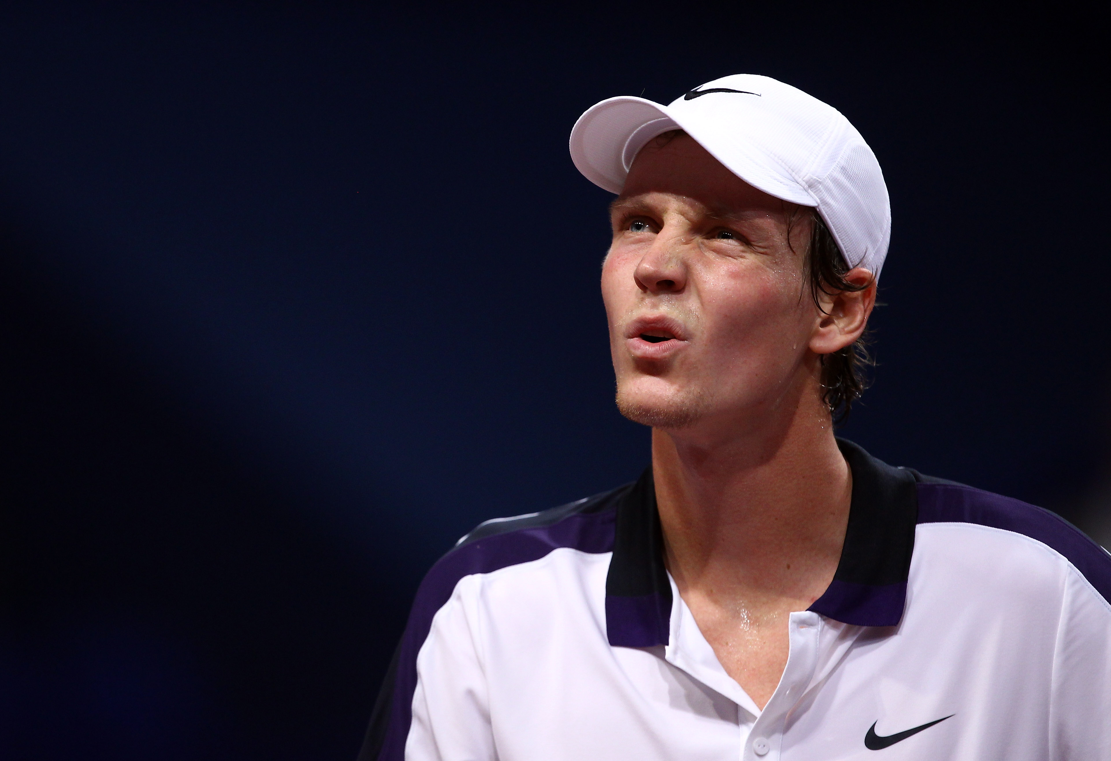 BASEL, SWITZERLAND - NOVEMBER 03:  Tomas Berdych of Czech Republic looks on in his match against Tobias Kamke of Germany during Day Three of the Davidoff Swiss Indoors Tennis at St Jakobshalle on November 3, 2010 in Basel, Switzerland.  (Photo by Julian F