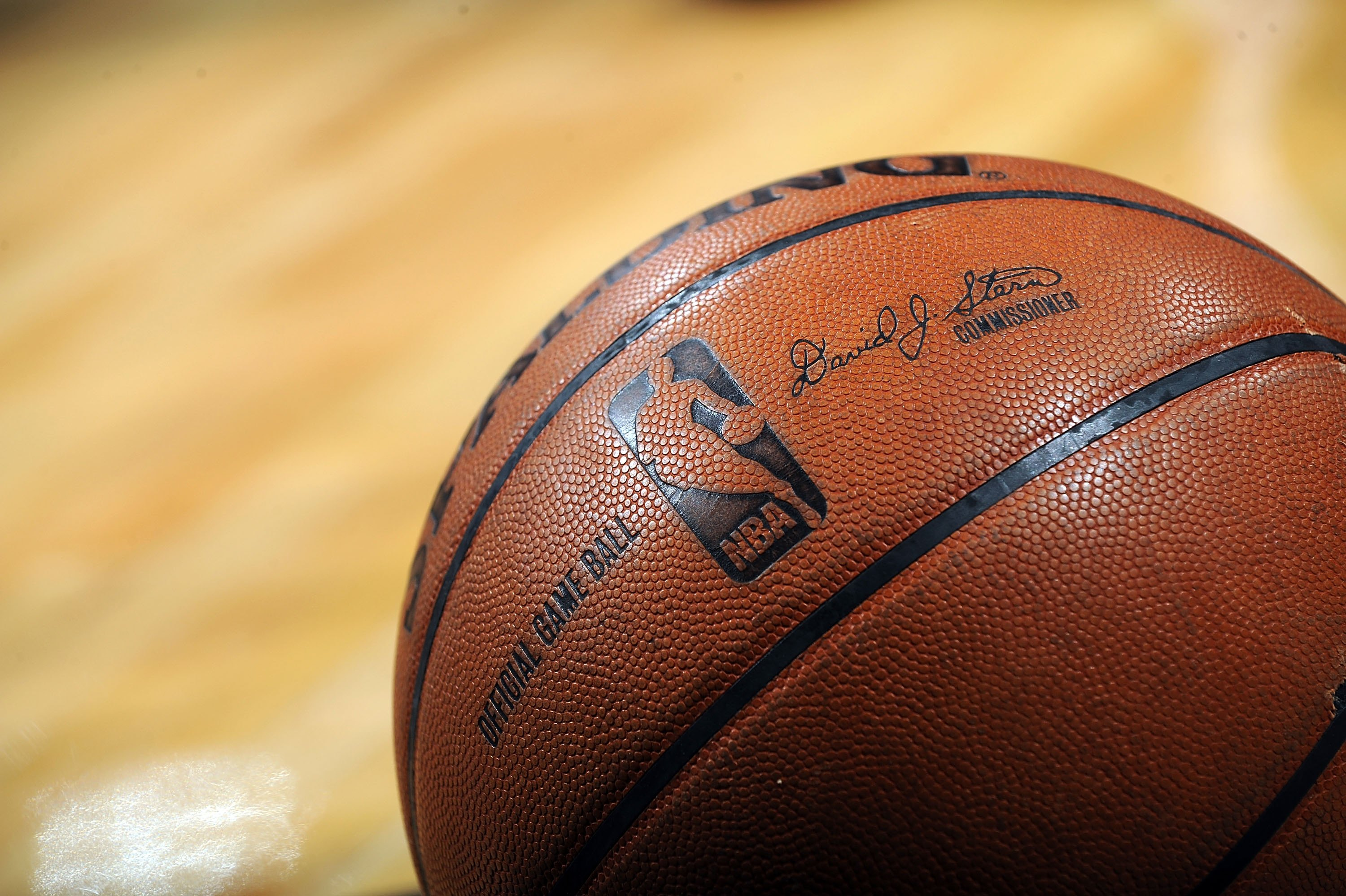 SAN ANTONIO - APRIL 28:  A NBA basketball on the court during play between the Dallas Mavericks and the San Antonio Spurs in Game Five of the Western Conference Quarterfinals during the 2009 NBA Playoffs at AT&T Center on April 28, 2009 in San Antonio, Te