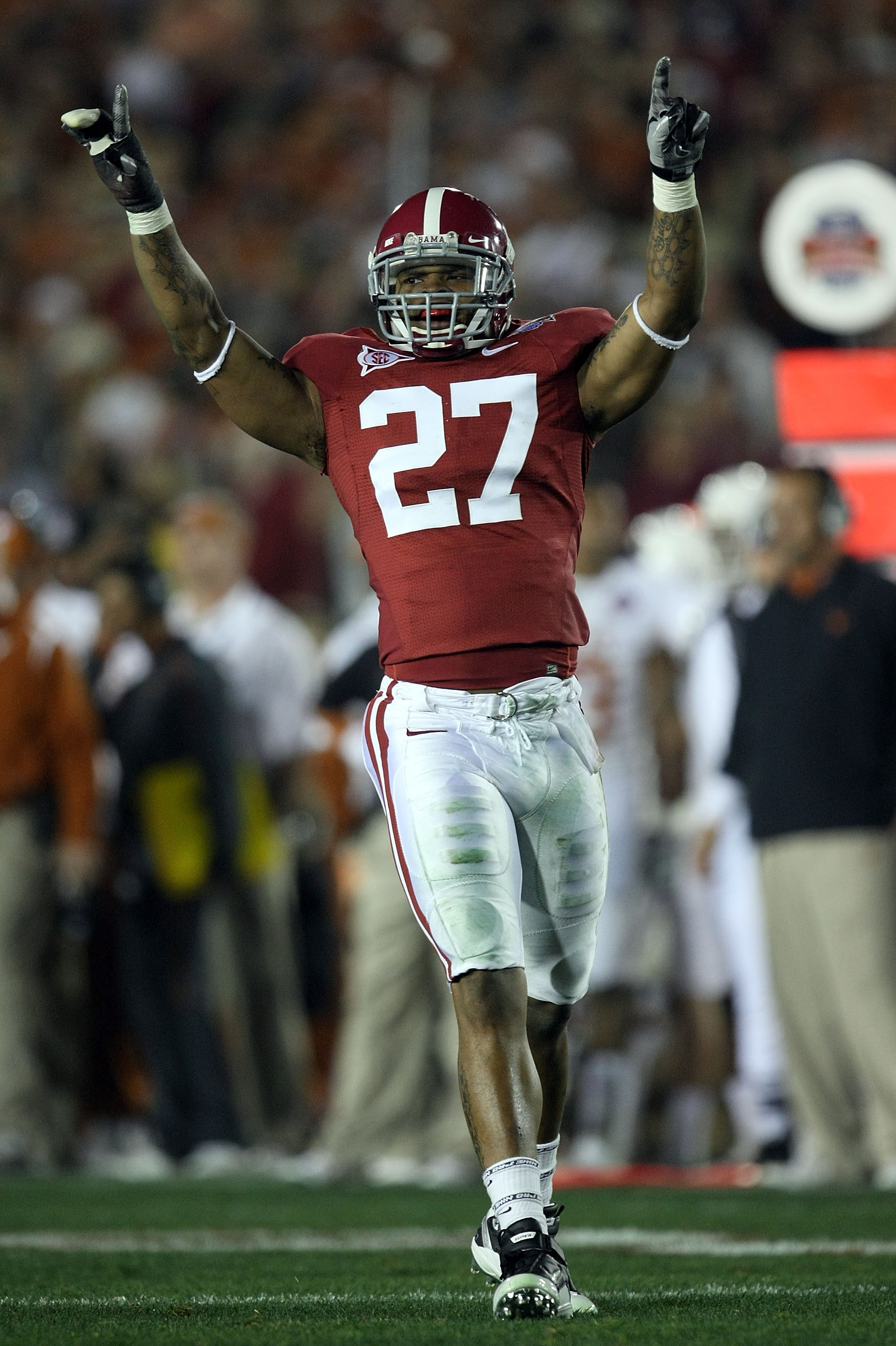 PASADENA, CA - JANUARY 07:  Cornerback Justin Woodall #27 of the Alabama Crimson Tide celebrates after winning the Citi BCS National Championship game over the Texas Longhorns at the Rose Bowl on January 7, 2010 in Pasadena, California. The Crimson Tide d