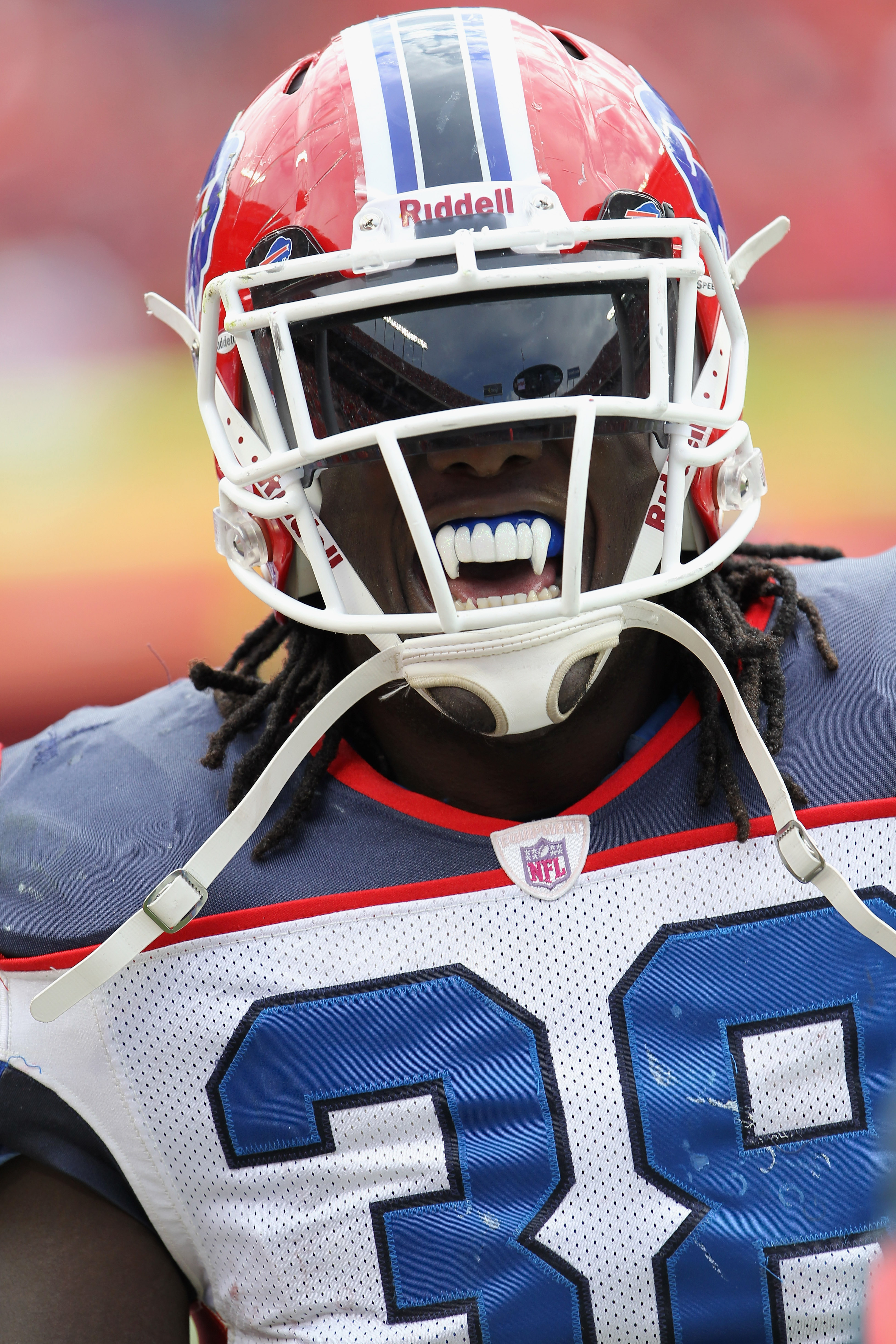 KANSAS CITY, MO - OCTOBER 31:  Running back Corey McIntyre #38 of the Buffalo Bills wears a mouthguard in the shape of vampire fangs during the game against  the Kansas City Chiefs on October 31, 2010  at Arrowhead Stadium in Kansas City, Missouri.  (Phot