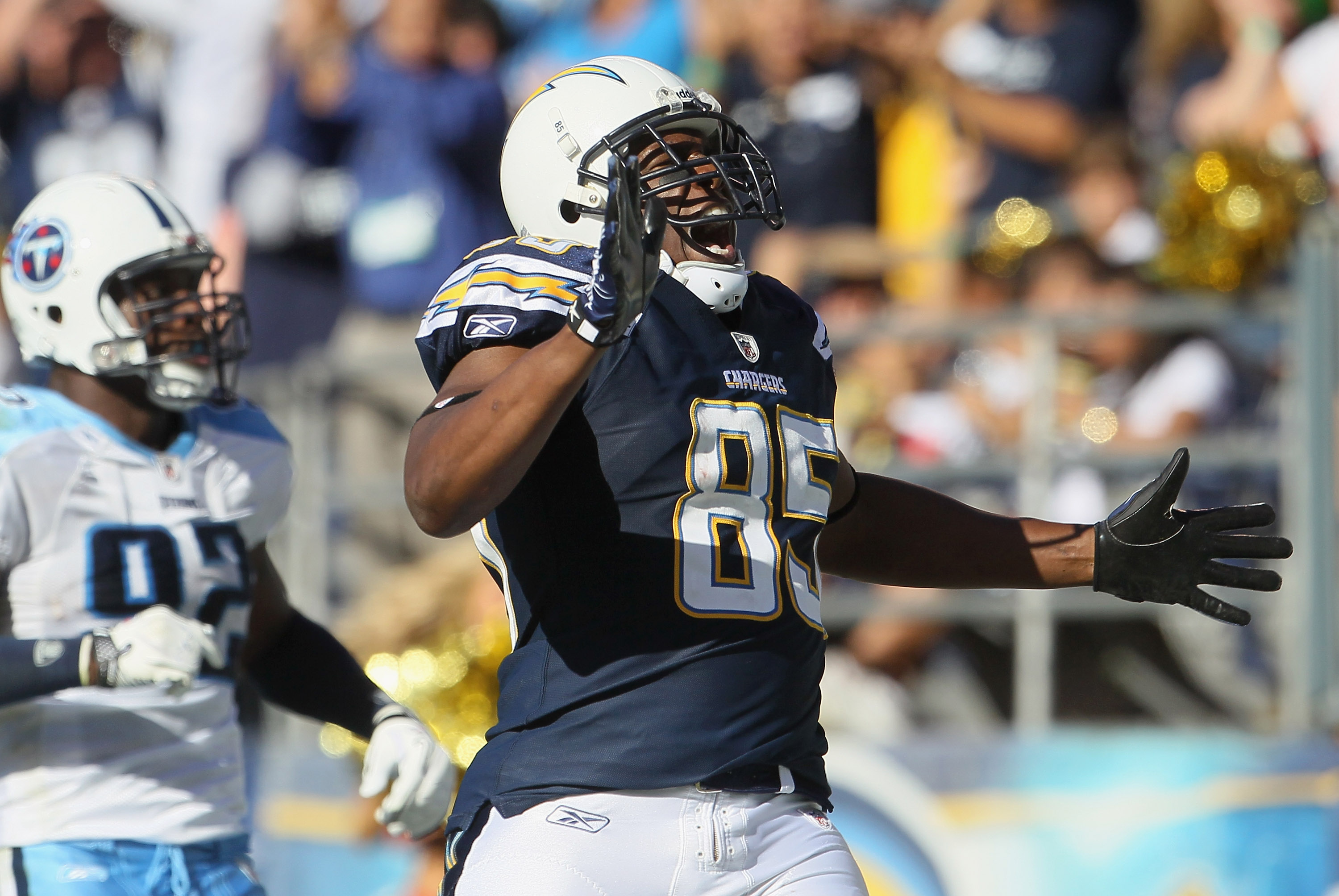 SAN DIEGO - OCTOBER 31:  Tight end Antonio Gates #85 of the San Diego Chargers celebrates a touchdown against the Tennessee Titans in the third quarter at Qualcomm Stadium on October 31, 2010 in San Diego, California. The Chargers defeated the Titans 33-2