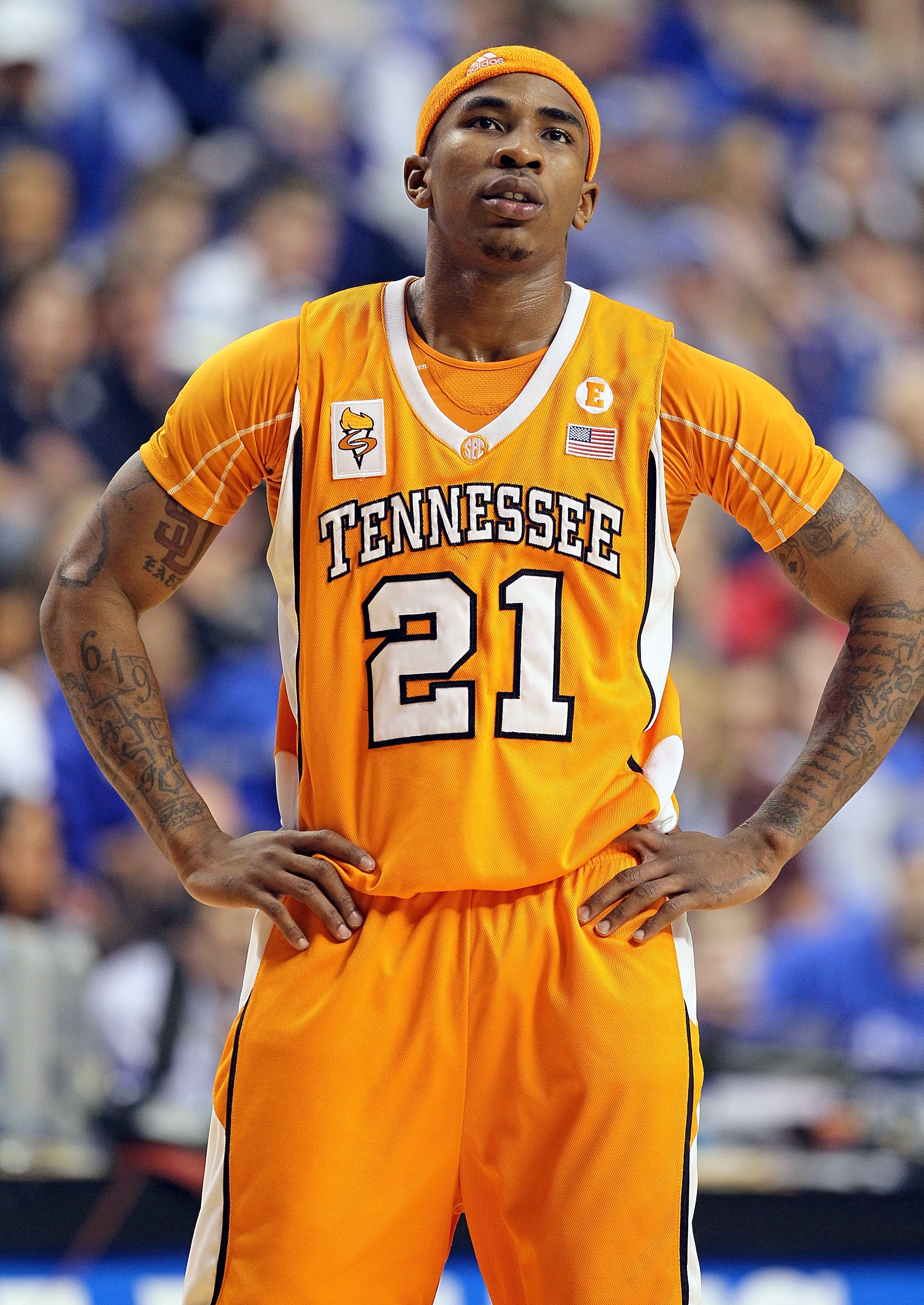 LEXINGTON, KY - FEBRUARY 13:  Melvin Goins #21 of the Tennessee Volunteers looks on during the SEC game against the Kentucky Wilcats on February 13, 2010 at Rupp Arena in Lexington, Kentucky.  (Photo by Andy Lyons/Getty Images)