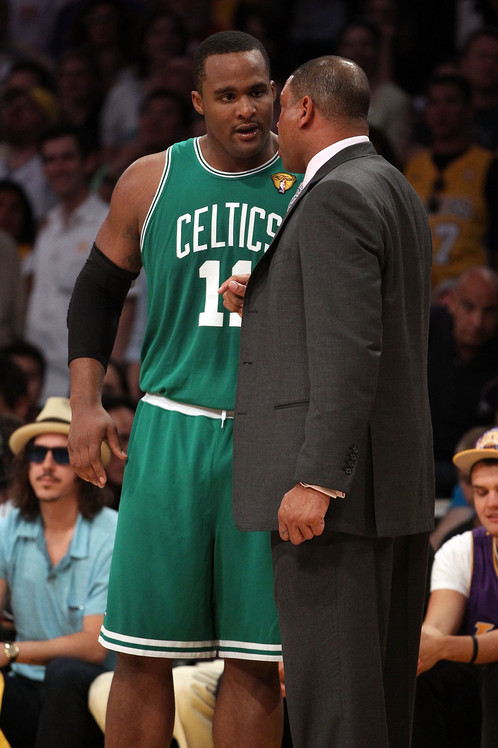 LOS ANGELES, CA - JUNE 17:  Head coach Doc Rivers of the Boston Celtics talks with Glen Davis #11 while taking on the Los Angeles Lakers in Game Seven of the 2010 NBA Finals at Staples Center on June 17, 2010 in Los Angeles, California.  NOTE TO USER: Use