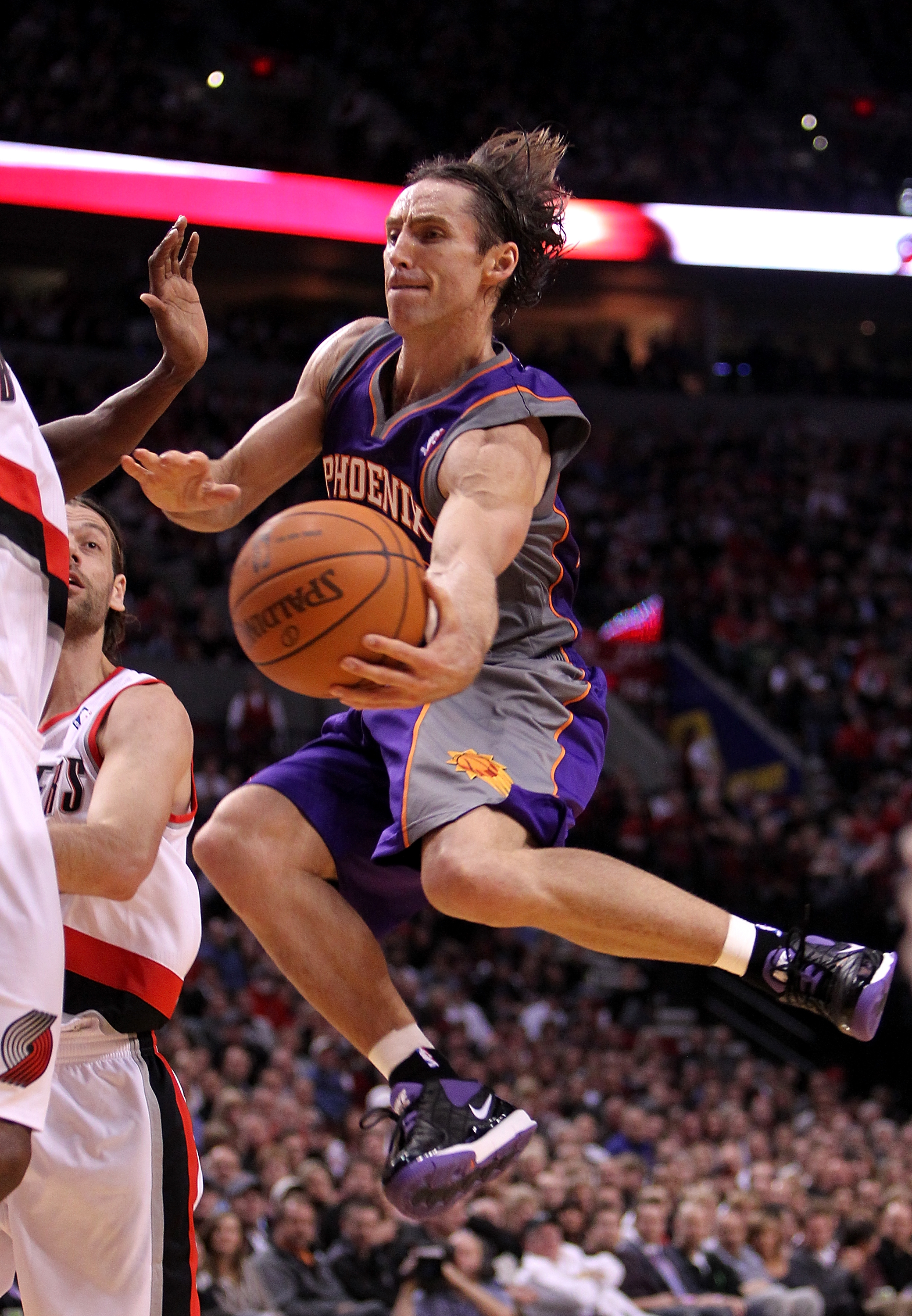PORTLAND, OR - OCTOBER 26:  Steve Nash #13 of the Phoenix Suns drives with the ball agianst the Portland Trail Blazers on October 26, 2010 at the Rose Garden in Portland, Oregon.  NOTE TO USER: User expressly acknowledges and agrees that, by downloading a