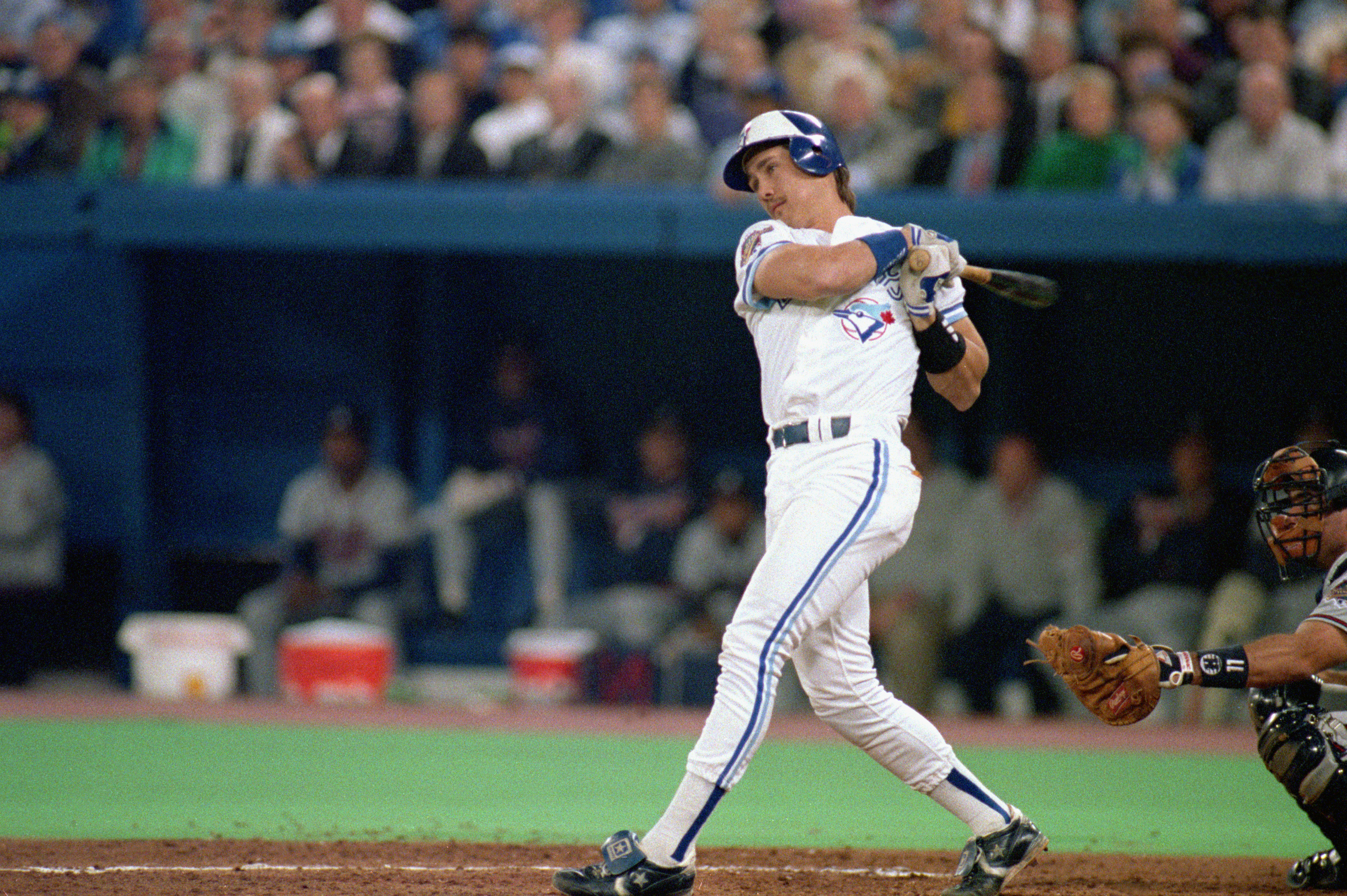 TORONTO - OCTOBER 22:  Pat Borders #10 hits an Atlanta Braves pitch during game 5 of the World Series at the SkyDome in Toronto, Ontario, Canada, on October 22, 1992.  The Braves on 7-2.  (Photo by Rick Stewart/Getty Images)