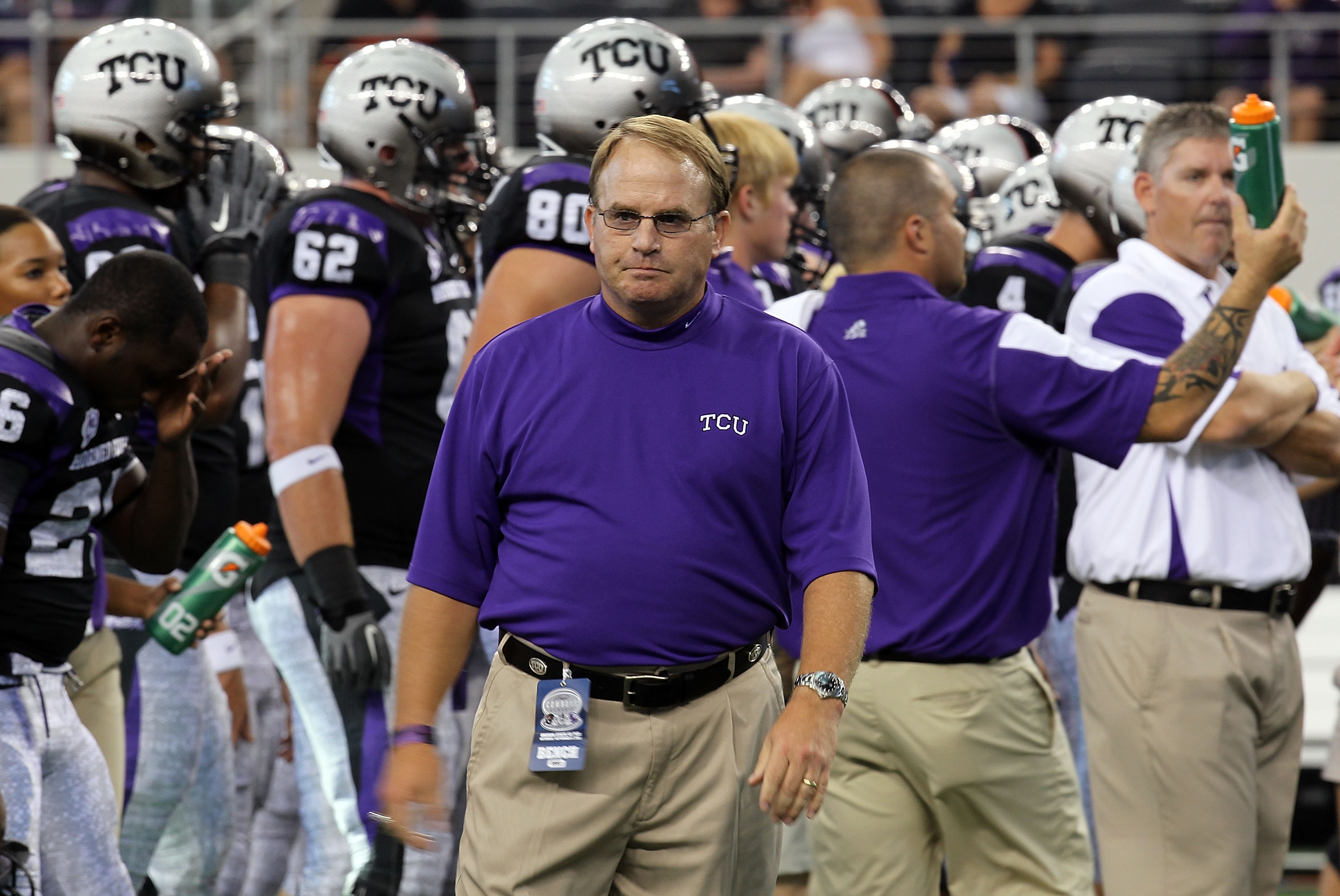 ARLINGTON, TX - SEPTEMBER 04:  Head coach Gary Patterson of the TCU Horned Frogs walks on the field before a game against the Oregon State Beavers at Cowboys Stadium on September 4, 2010 in Arlington, Texas.  (Photo by Ronald Martinez/Getty Images)