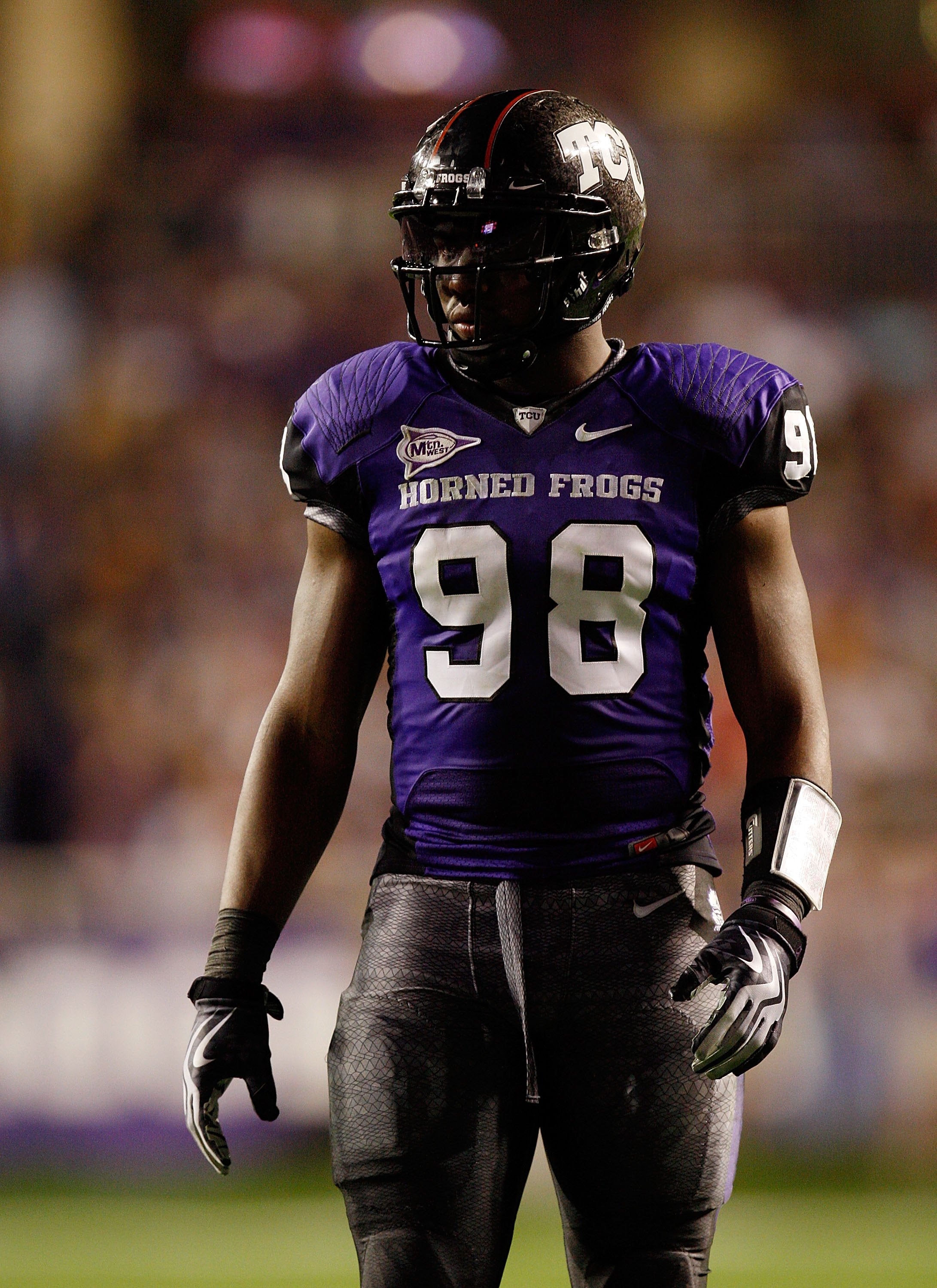 FORT WORTH, TX - NOVEMBER 14:  Defensive end Jerry Hughes #98 of the TCU Horned Frogs at Amon G. Carter Stadium on November 14, 2009 in Fort Worth, Texas.  (Photo by Ronald Martinez/Getty Images)