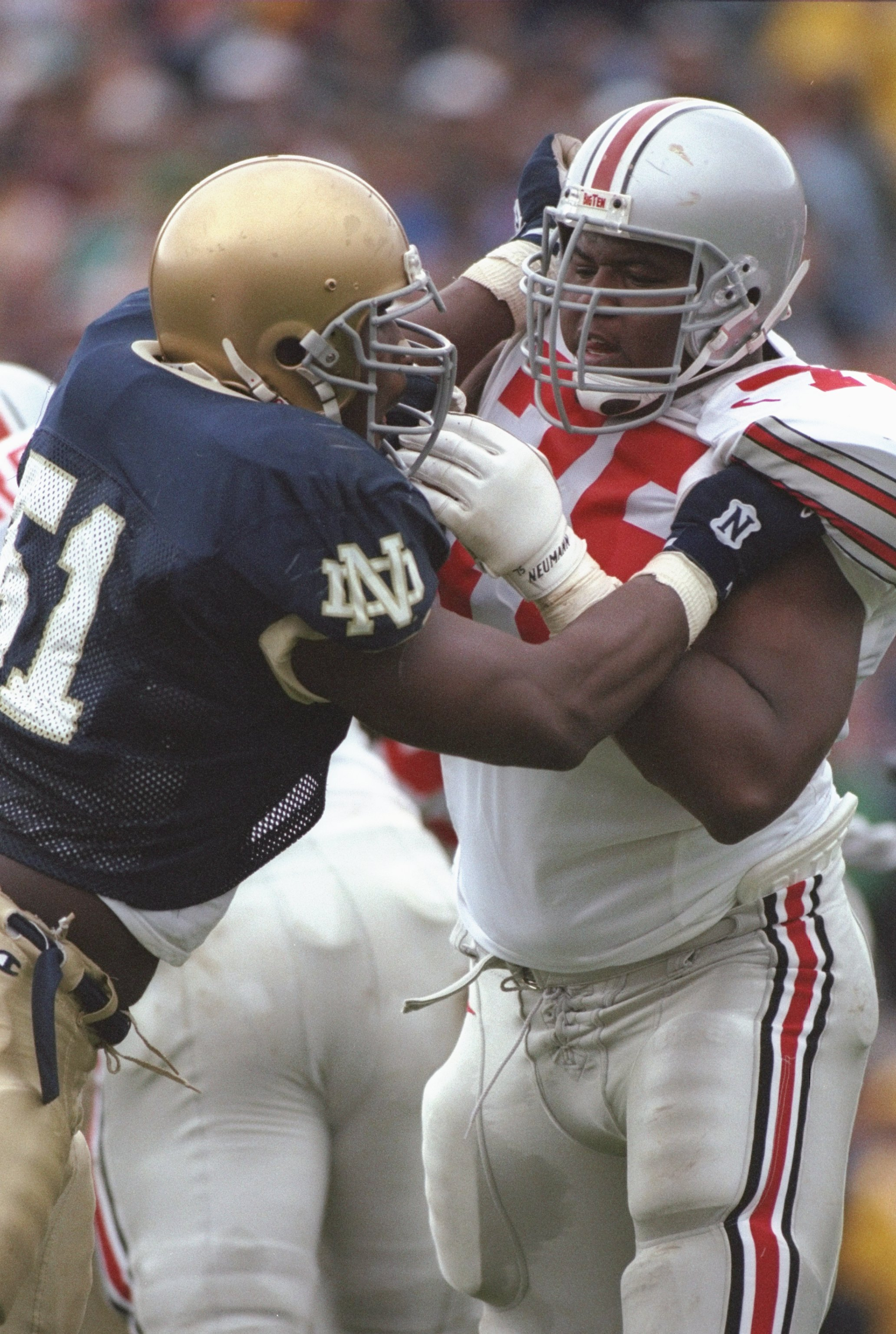 28 Sep 1996: Offensive lineman Orlando Pace #75 of the Ohio State Buckeye''s battles with Melvin Dansby #51 of the Notre Dame Fighting Irish while attempting to land a block during a play in the Buckeye''s 29-16 victory over the Irish at Notre Dame Stadiu