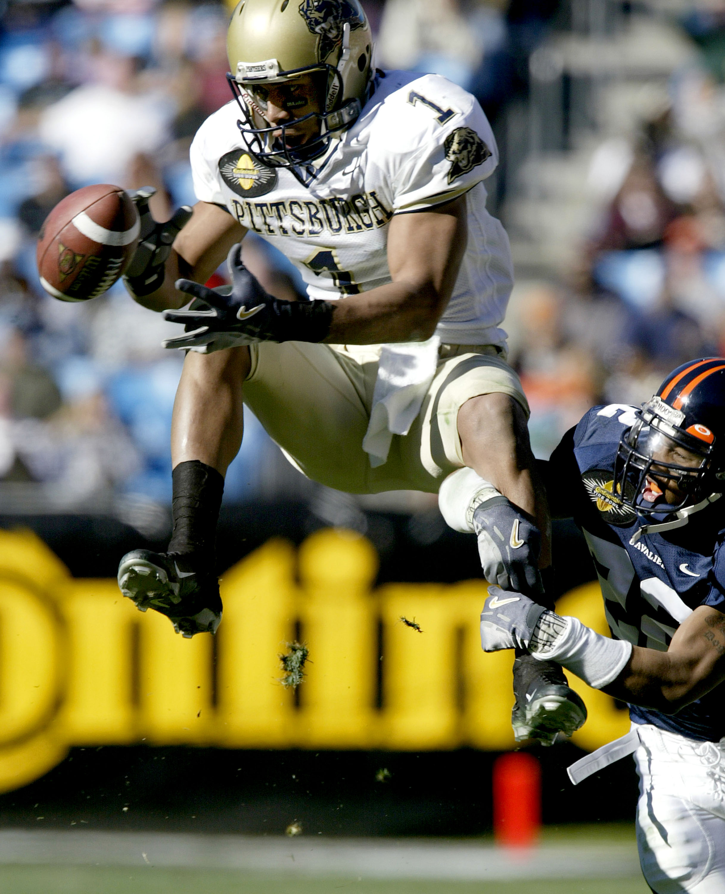 CHARLOTTE, NC - DECEMBER 27:  Larry Fitzgerald #1 of the Pittsburgh Panthers drops a pass as Almondo Curry #22 of the Virginia Cavaliers defends during the Continental Tire Bowl December 27, 2003 at Ericsson Stadium in Charlotte, North Carolina.  (Photo b