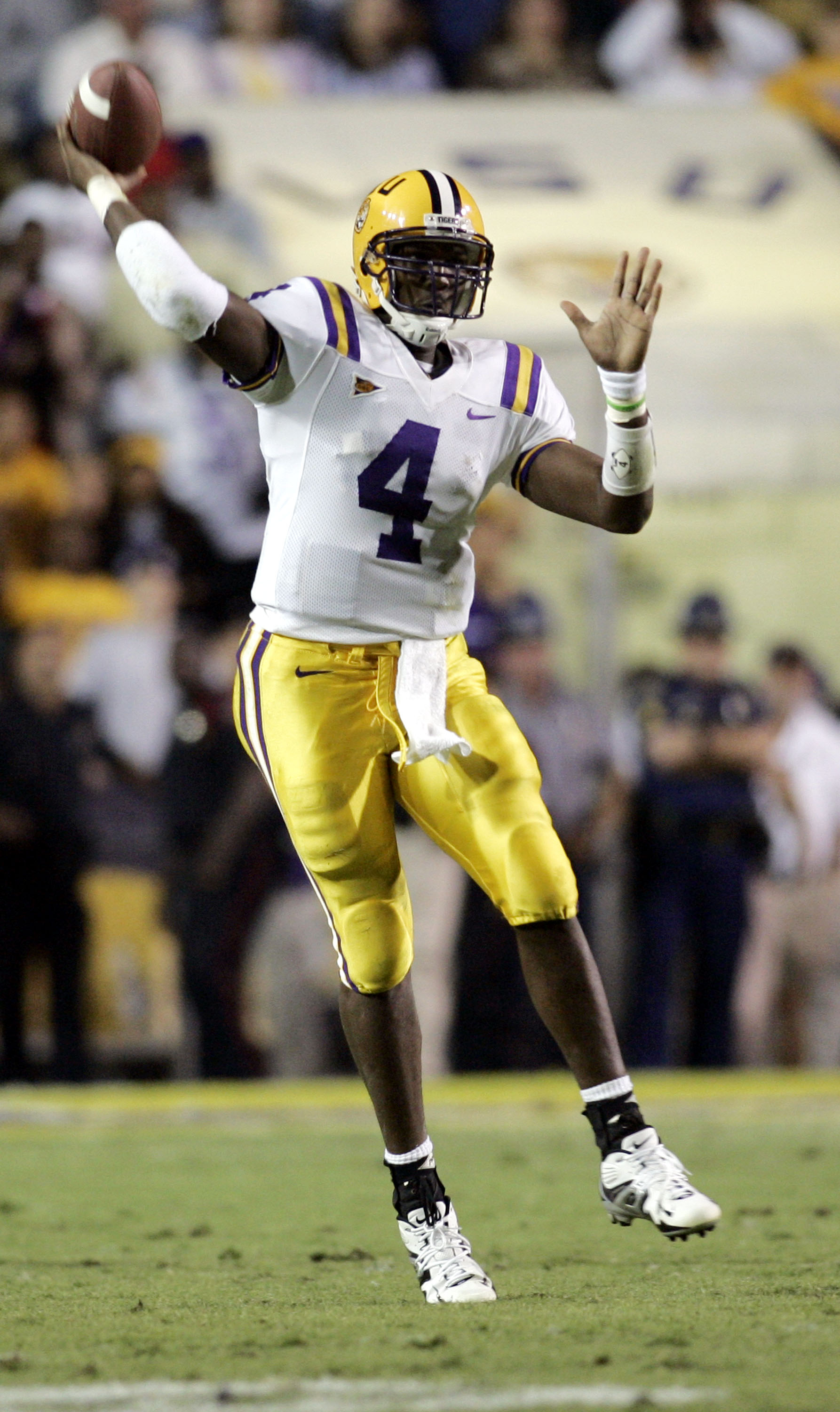 BATON ROUGE, LA - OCTOBER 22:  Quarterback JaMarcus Russell #4 of Louisiana State University completes a pass against Auburn University at Tiger Stadium in Baton Rouge, Louisiana on October 22, 2005. LSU defeated Auburn 20-17 in overtime.  (Photo by Chris