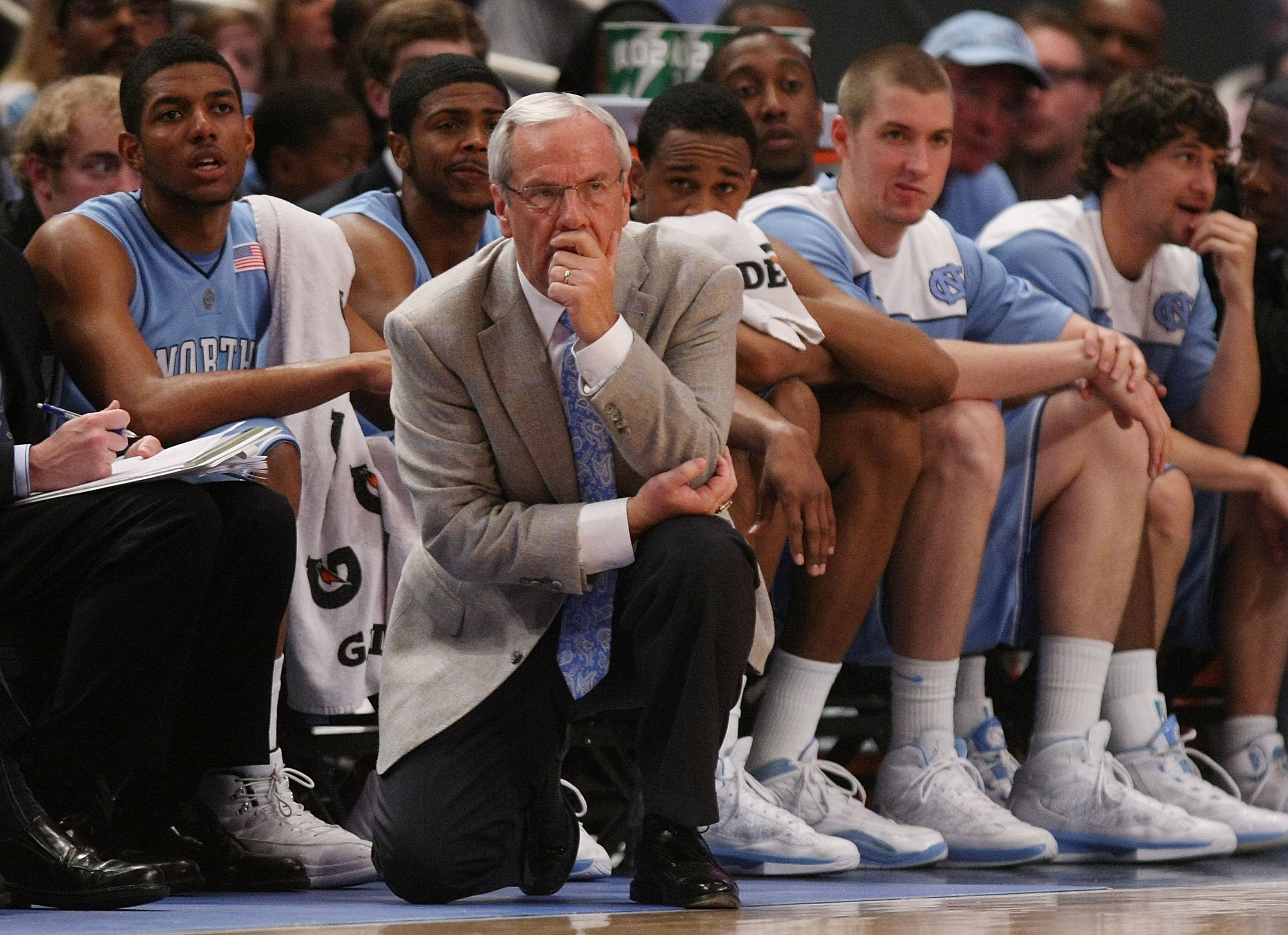 NEW YORK - APRIL 01: Head coach of the North Carolina Tar Heels, Roy Williams watches on against the Dayton Flyers during the 2010 NIT Championship Game at Madison Square Garden on April 1, 2010 in New York, New York.  (Photo by Nick Laham/Getty Images)