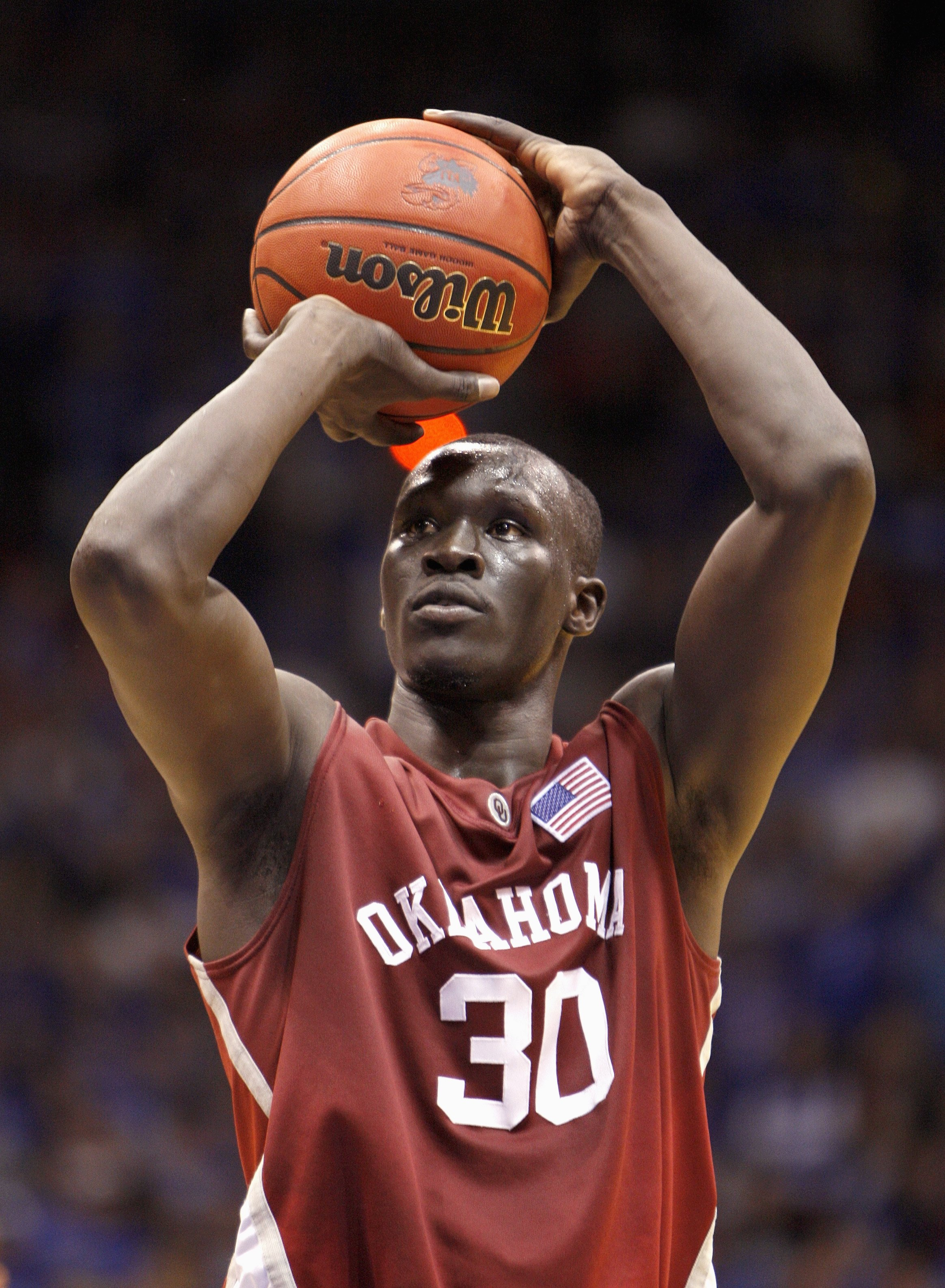 LAWRENCE, KS - JANUARY 14: Longar Longar #30 of the Oklahoma Sooners makes a free throw during the game against the Kansas Jayhawks on January 14, 2008 at Allen Fieldhouse in Lawrence, Kansas. (Photo by Jamie Squire/Getty Images)
