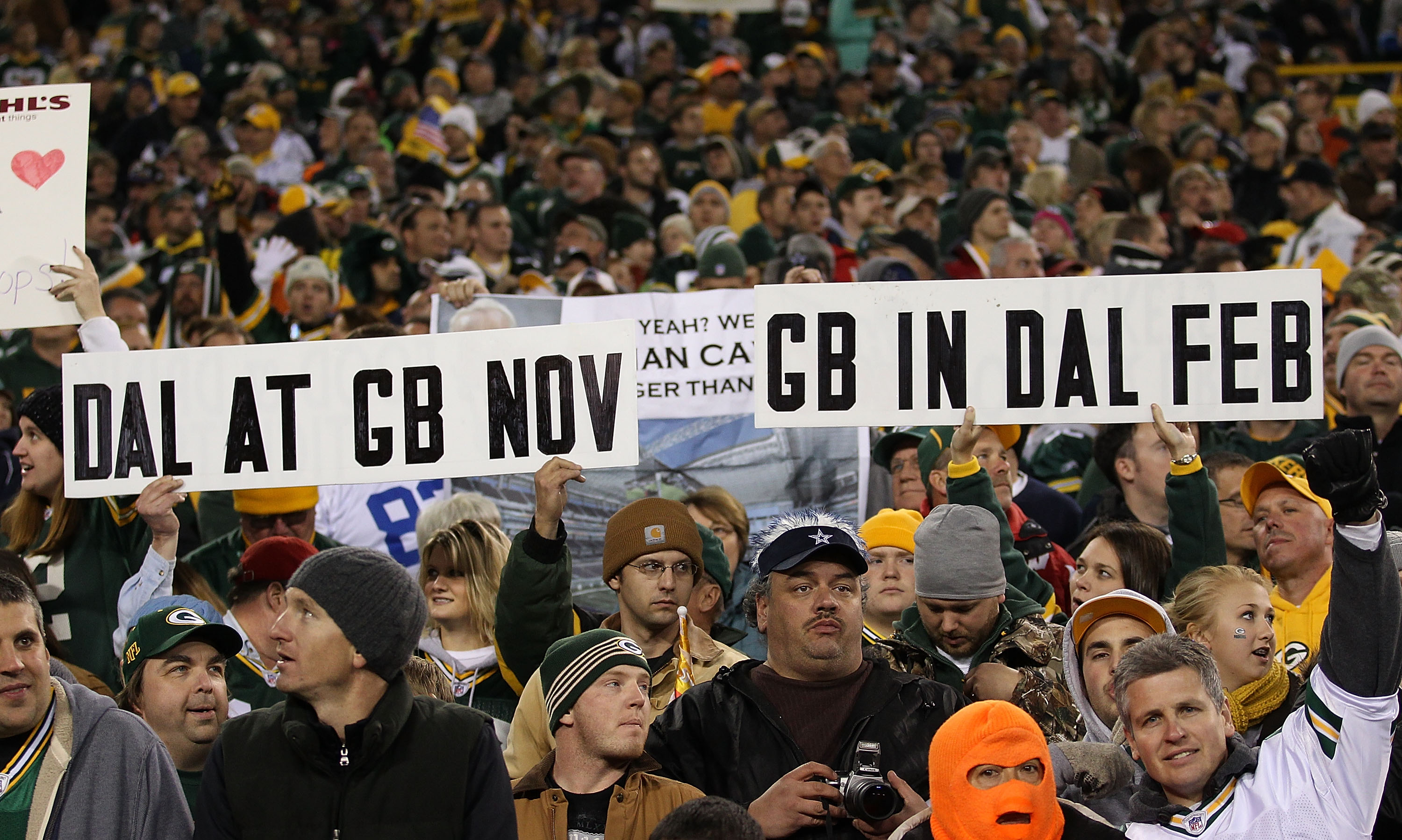 GREEN BAY, WI - NOVEMBER 07: Fans of the Green Bay Packers hold a sign during a game against the Dallas Cowboys at Lambeau Field on November 7, 2010 in Green Bay, Wisconsin. (Photo by Jonathan Daniel/Getty Images)