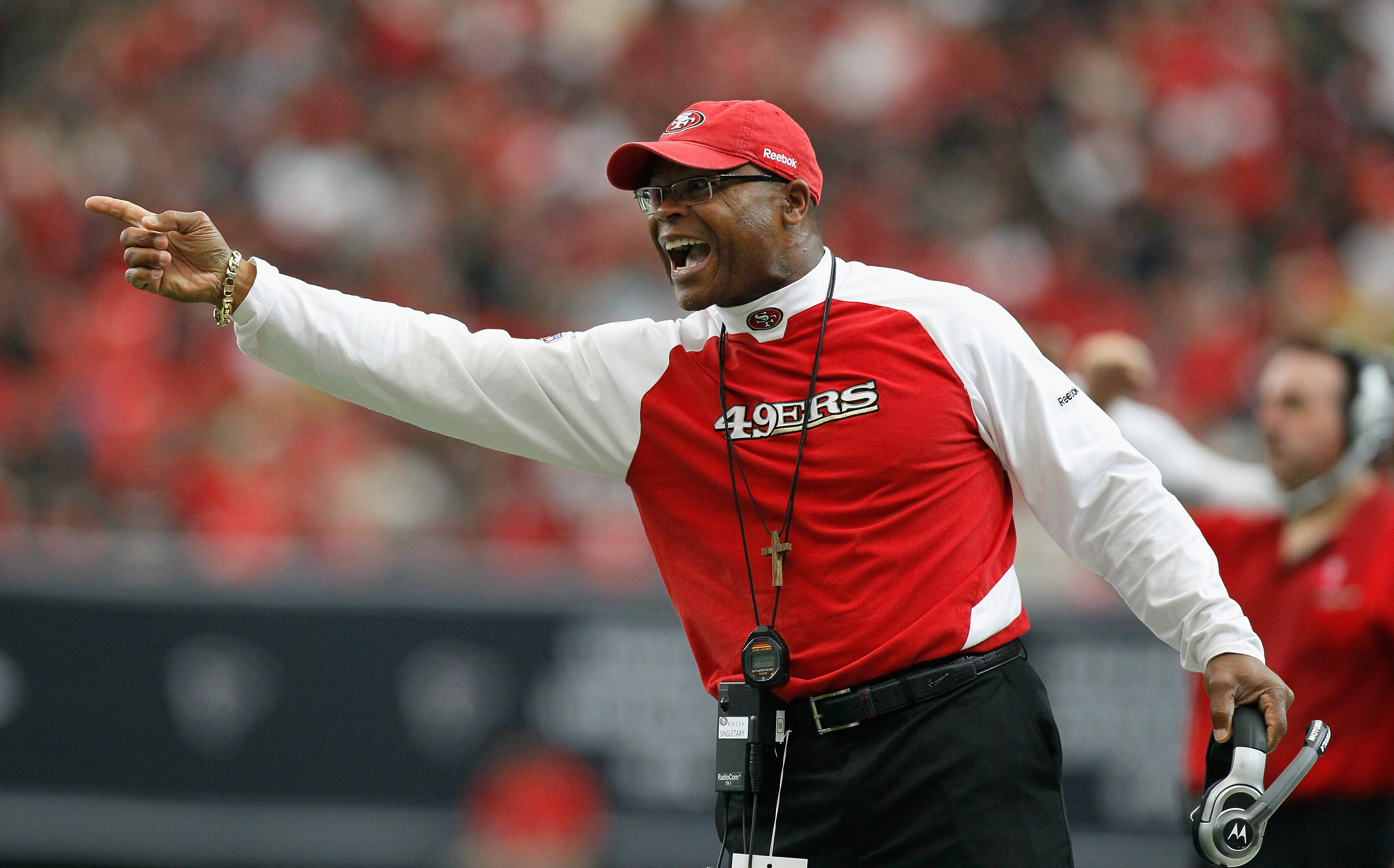 ATLANTA - OCTOBER 03:  Head coach Mike Singletary of the San Francisco 49ers questions a call during the game against the Atlanta Falcons at Georgia Dome on October 3, 2010 in Atlanta, Georgia.  (Photo by Kevin C. Cox/Getty Images)