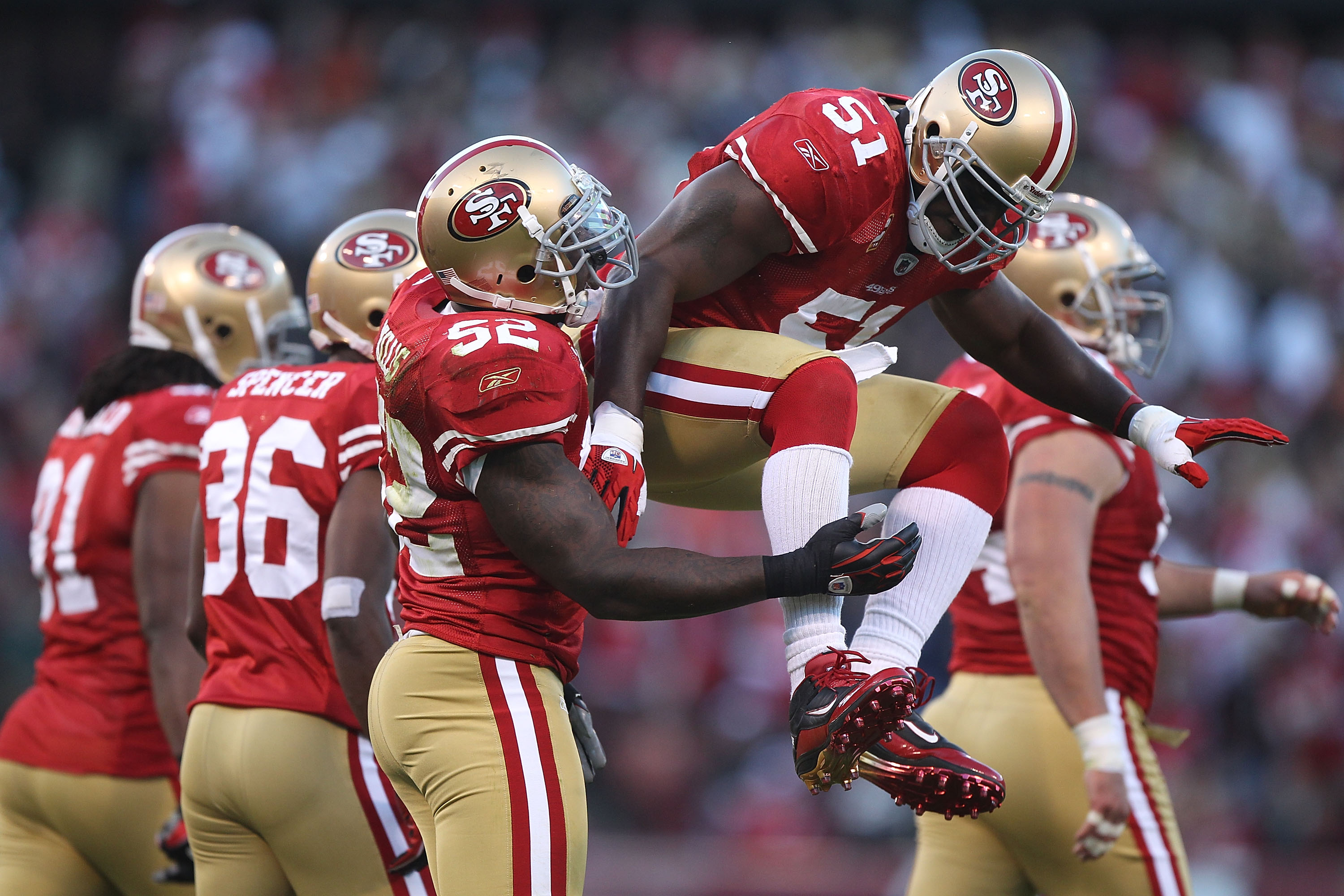 SAN FRANCISCO - SEPTEMBER 20:  Takeo Spikes #51 of the San Francisco 49er celebrates a tackle against the New Orleans Saints during an NFL game at Candlestick Park on September 20, 2010 in San Francisco, California.(Photo by Jed Jacobsohn/Getty Images)