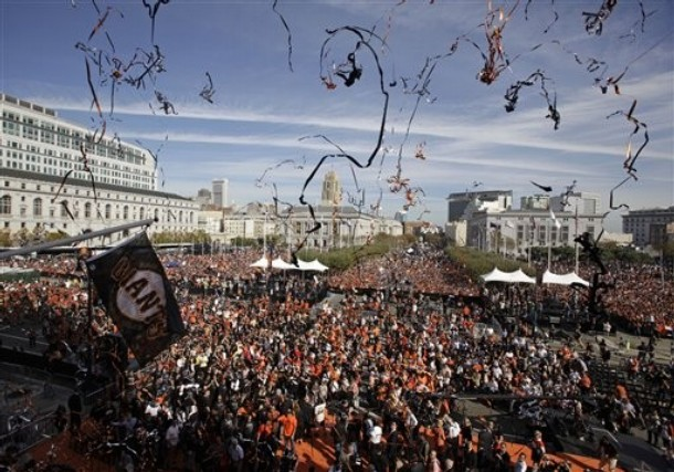 San Francisco pulled out the stops to welcome home the World Series champs. (AP)