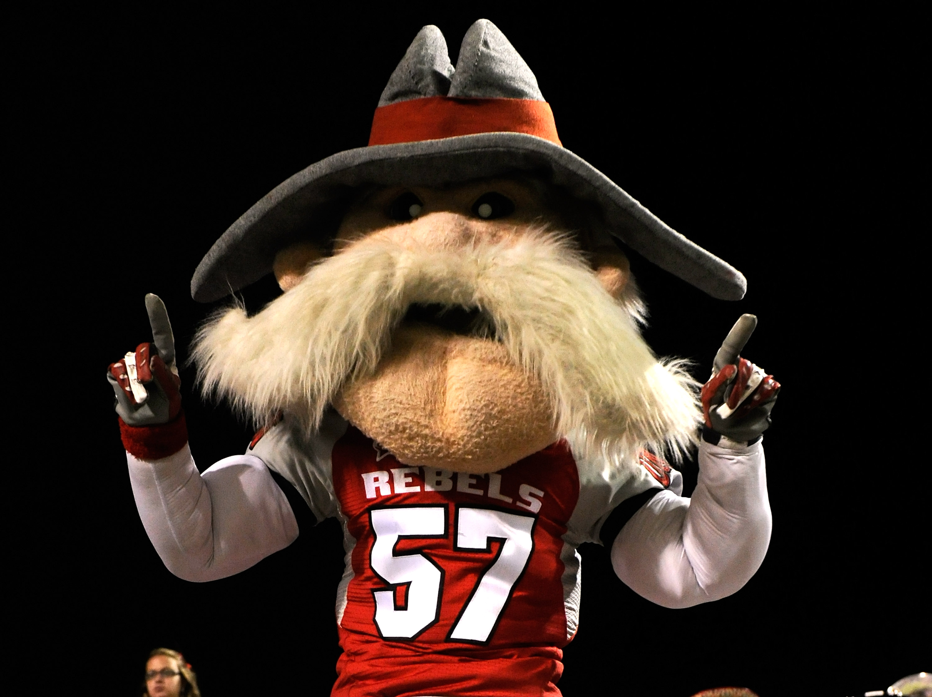LAS VEGAS - OCTOBER 30:  UNLV Rebels mascot 'Hey Reb' dances in the stands during the team's 48-6 loss to the Texas Christian University Horned Frogs at Sam Boyd Stadium October 30, 2010 in Las Vegas, Nevada.  (Photo by Ethan Miller/Getty Images)