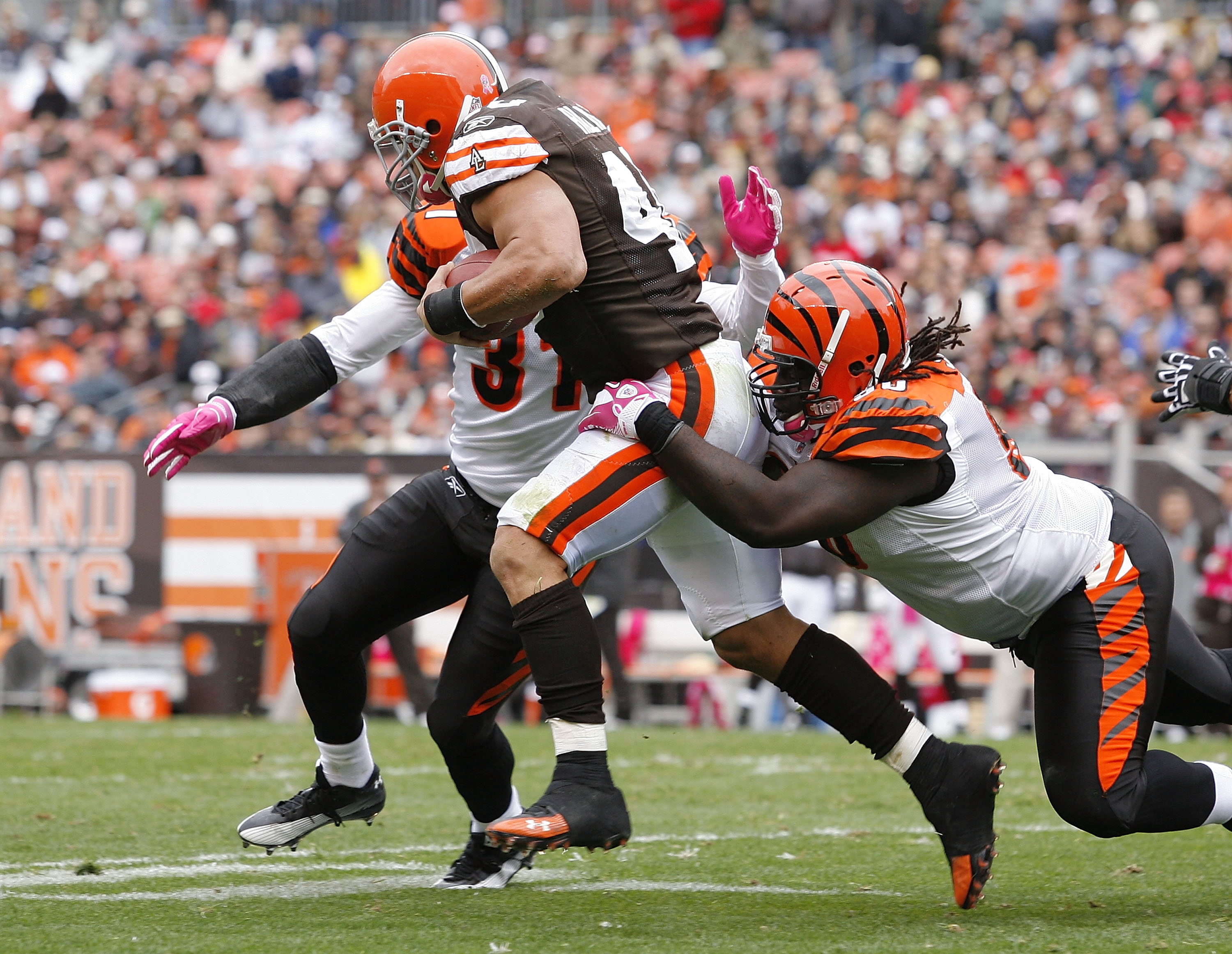 CLEVELAND - OCTOBER 03:  Running back Peyton Hillis #40 of the Cleveland Browns is hit by defenders Roy Williams #31 and Pat Sims #90 of the Cincinnati Bengals at Cleveland Browns Stadium on October 3, 2010 in Cleveland, Ohio.  (Photo by Matt Sullivan/Get