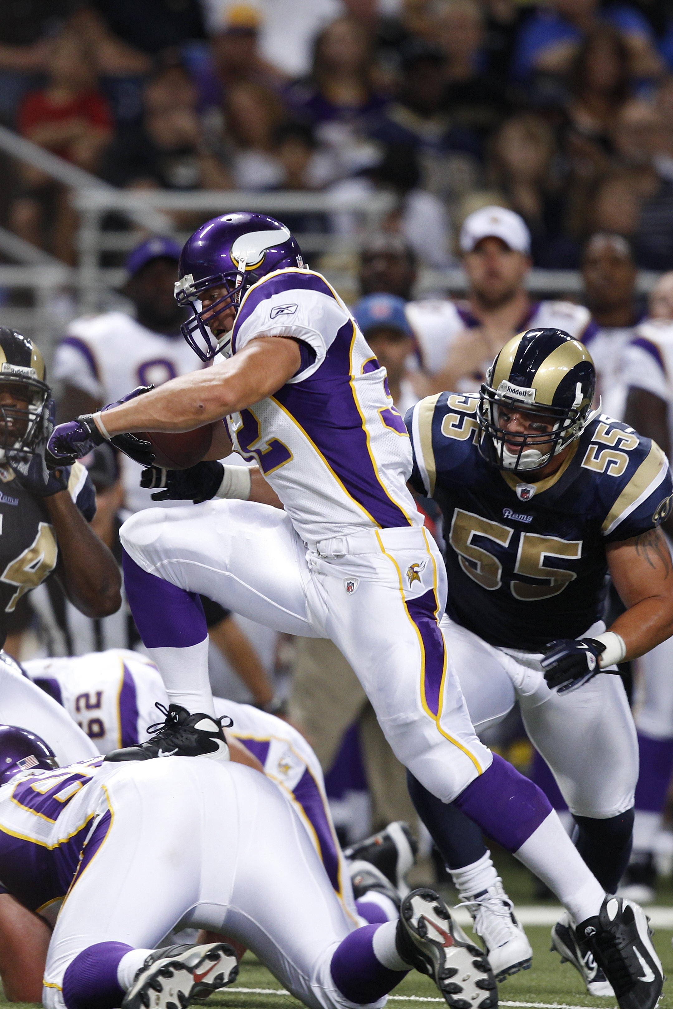 ST. LOUIS, MO - AUGUST 14: Toby Gerhart #32 of the Minnesota Vikings runs the ball against the St. Louis Rams during the preseason game at Edward Jones Dome on August 14, 2010 in St. Louis, Missouri. The Vikings defeated the Rams 28-7. (Photo by Joe Robbi