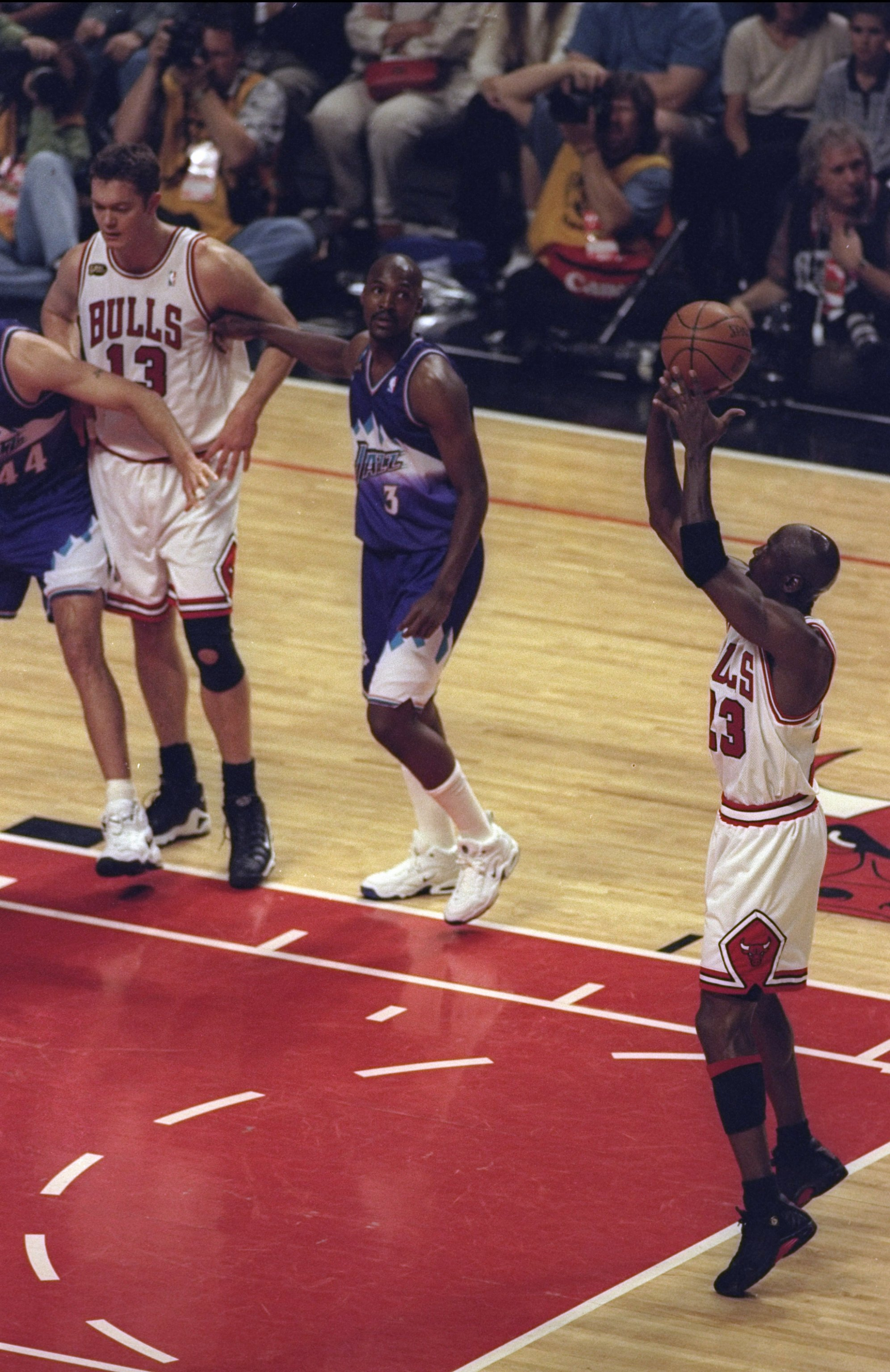 10 Jun 1998:  Michael Jordan #23 of the Chicago Bulls shoots a free throw during the NBA Finals Game 4 against the Utah Jazz at the United Center in Chicago, Illinois.  The Bulls defeated the Jazz 86-82. Mandatory Credit: Jonathan Daniel  /Allsport