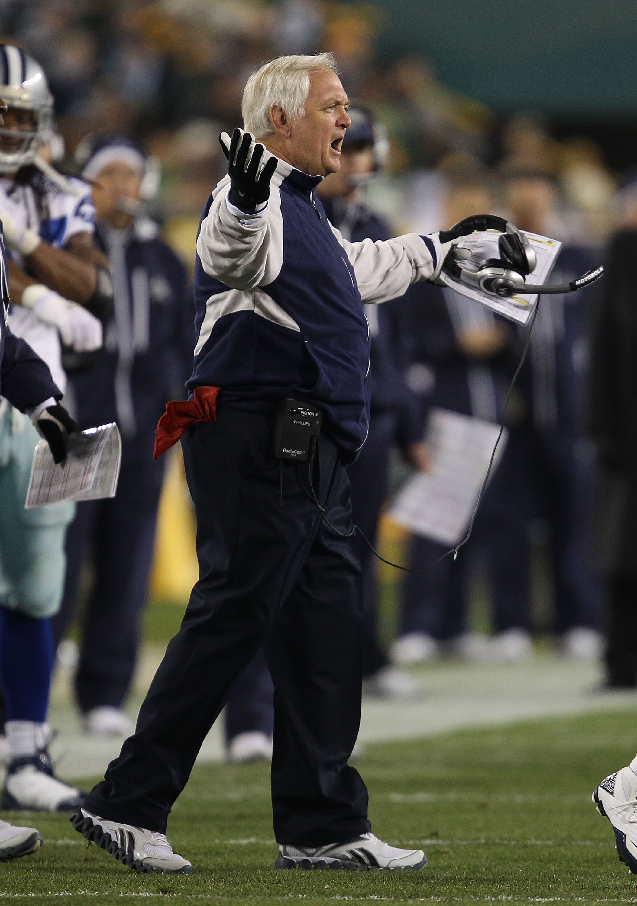 GREEN BAY, WI - NOVEMBER 07: Head coach Wade Phillips of the Dallas Cowboys complains to a referee during a game against the Green Bay Packers at Lambeau Field on November 7, 2010 in Green Bay, Wisconsin. (Photo by Jonathan Daniel/Getty Images)