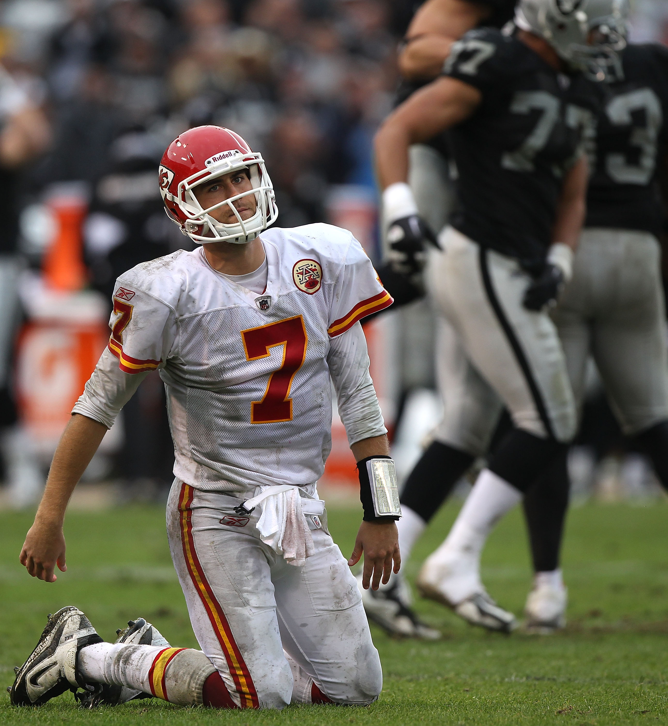 OAKLAND, CA - NOVEMBER 07:  Matt Cassel #7 of the Kansas City Chiefs is sacked against the Oakland Raiders during an NFL game at Oakland-Alameda County Coliseum on November 7, 2010 in Oakland, California.  (Photo by Jed Jacobsohn/Getty Images)