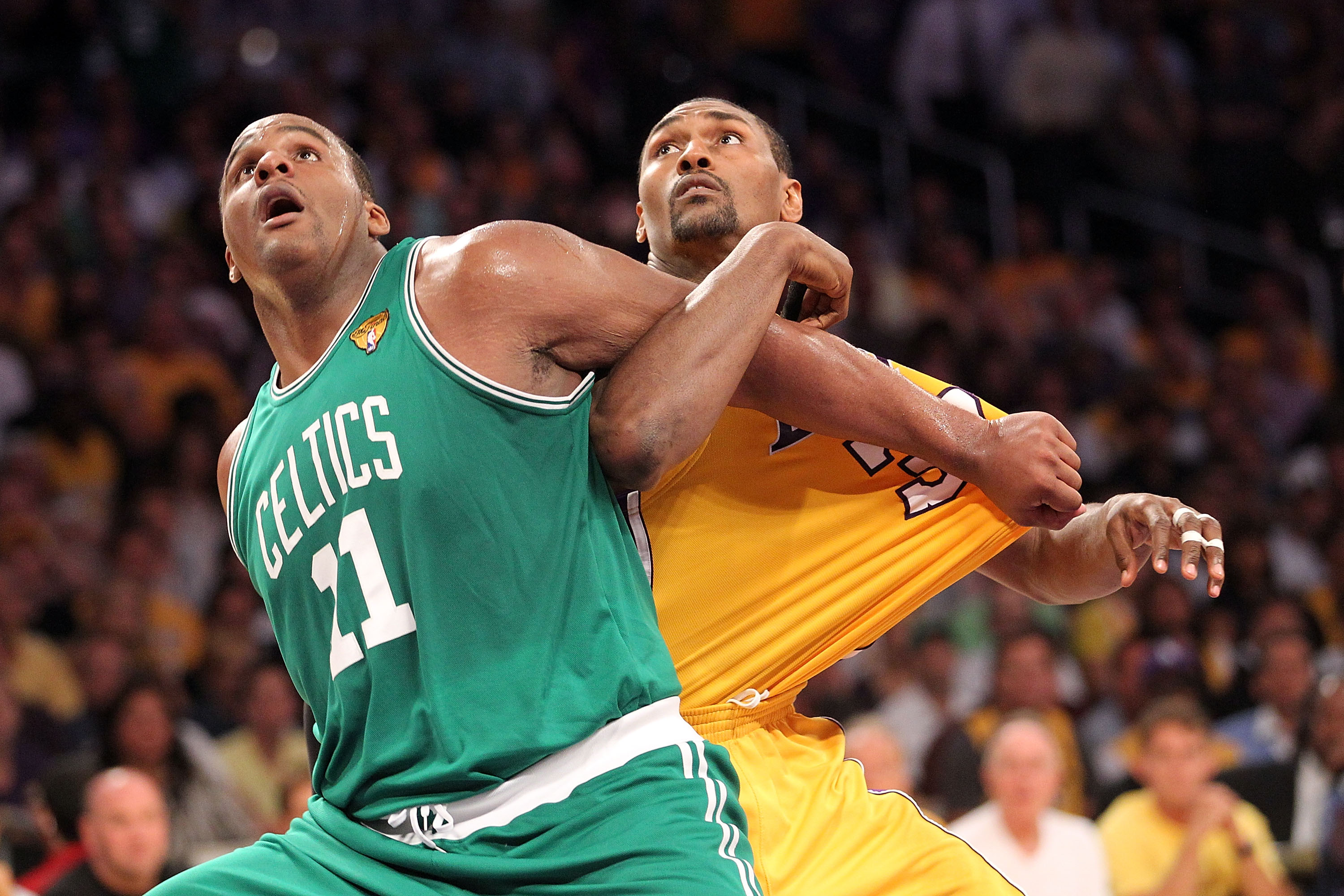 LOS ANGELES, CA - JUNE 17:  Glen Davis #11 of the Boston Celtics and Ron Artest #37 of the Los Angeles Lakers battle for position on a free throw in the first half of Game Seven of the 2010 NBA Finals at Staples Center on June 17, 2010 in Los Angeles, Cal