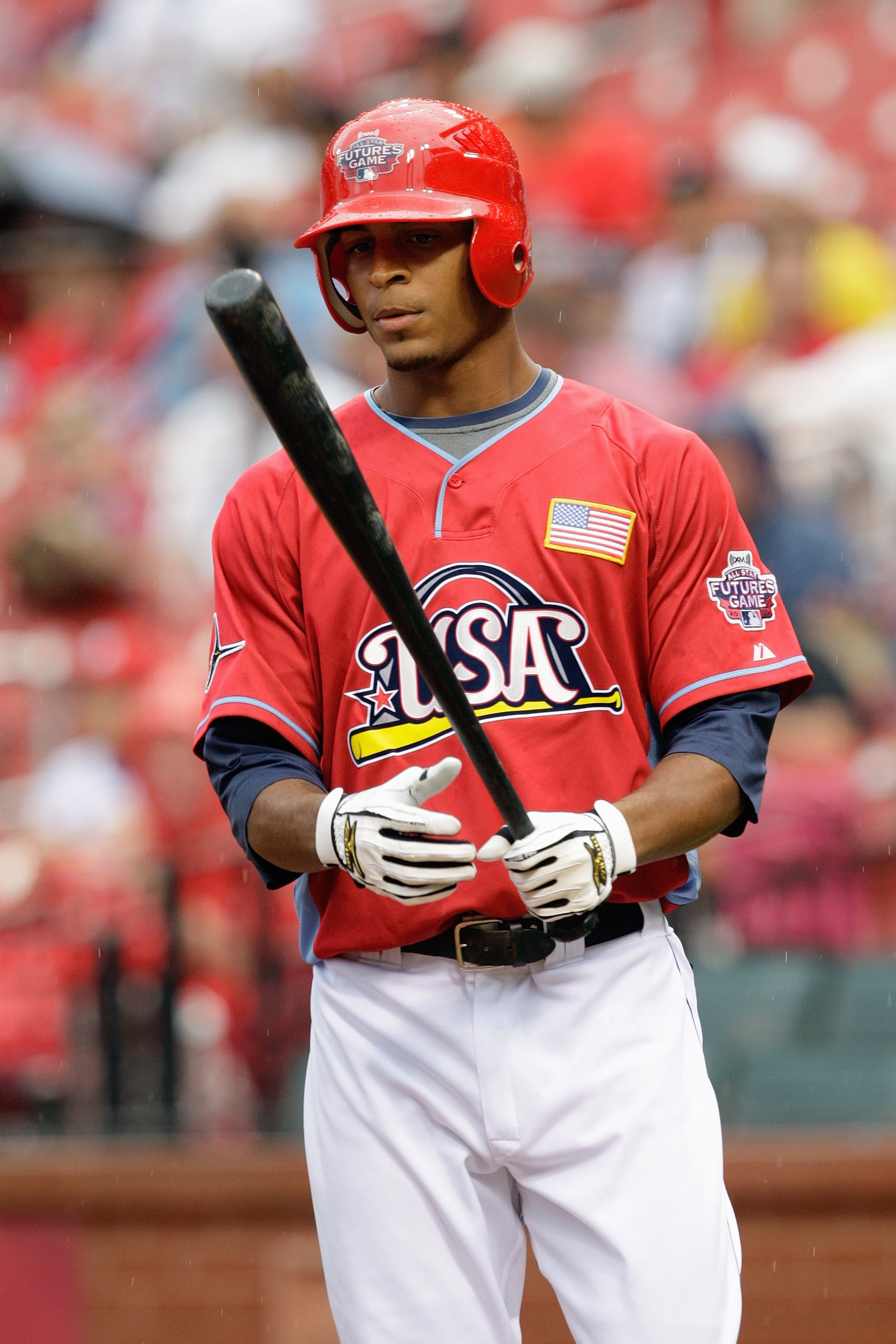 ST. LOUIS, MO - JULY 12: U.S. Futures All-Star Desmond Jennings of the Tampa Bay Rays stands at the plate during the 2009 XM All-Star Futures Game at Busch Stadium on July 12, 2009 in St. Louis, Missouri. (Photo by Jamie Squire/Getty Images)