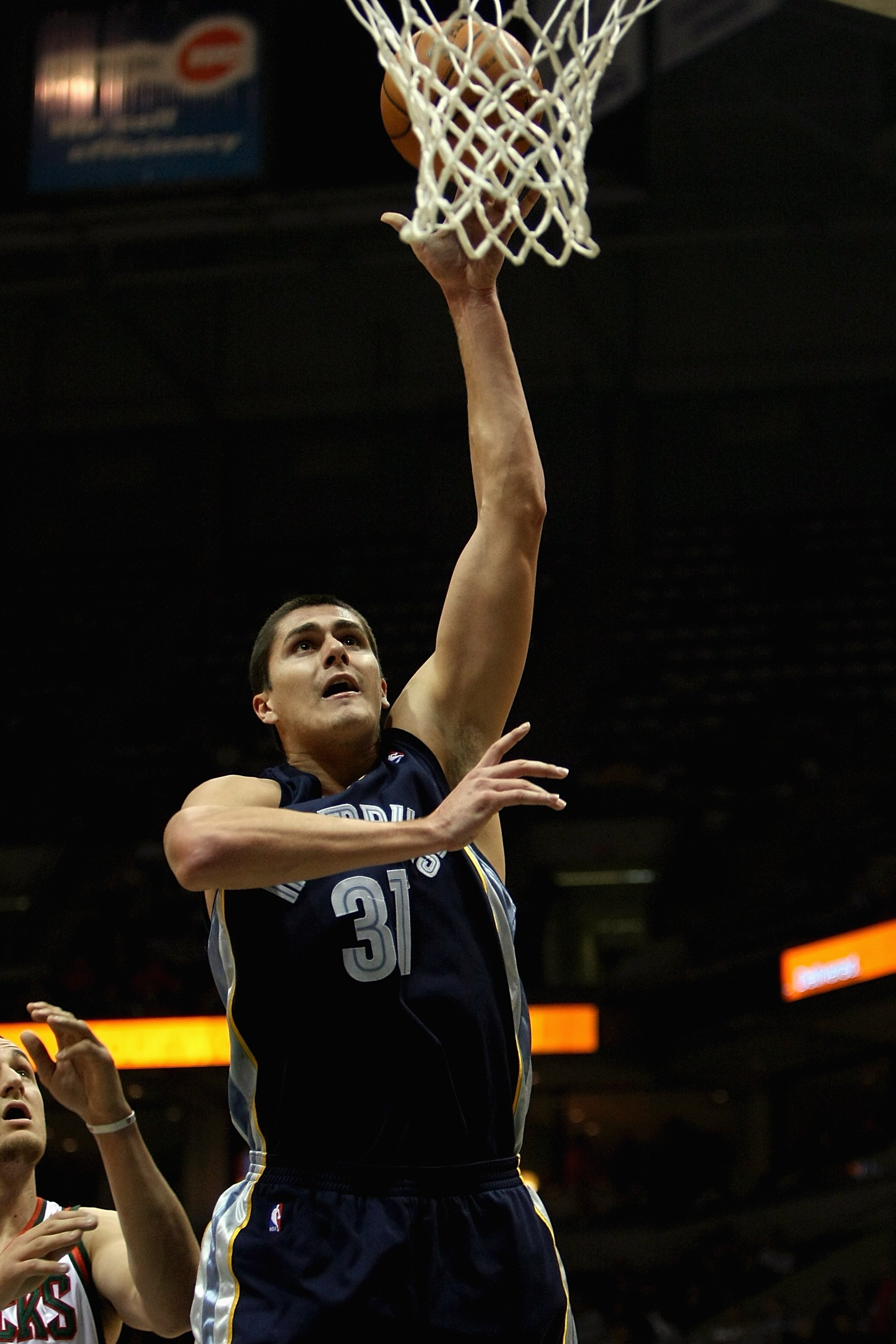 MILWAUKEE - NOVEMBER 14: Darko Milicic #31 of the Memphis Grizzlies puts a shot up during the game against the Milwaukee Bucks on November 14, 2007 at the Bradley Center in Milwaukee, Wisconsin.  The Bucks won 102-99.  NOTE TO USER: User expressly acknowl