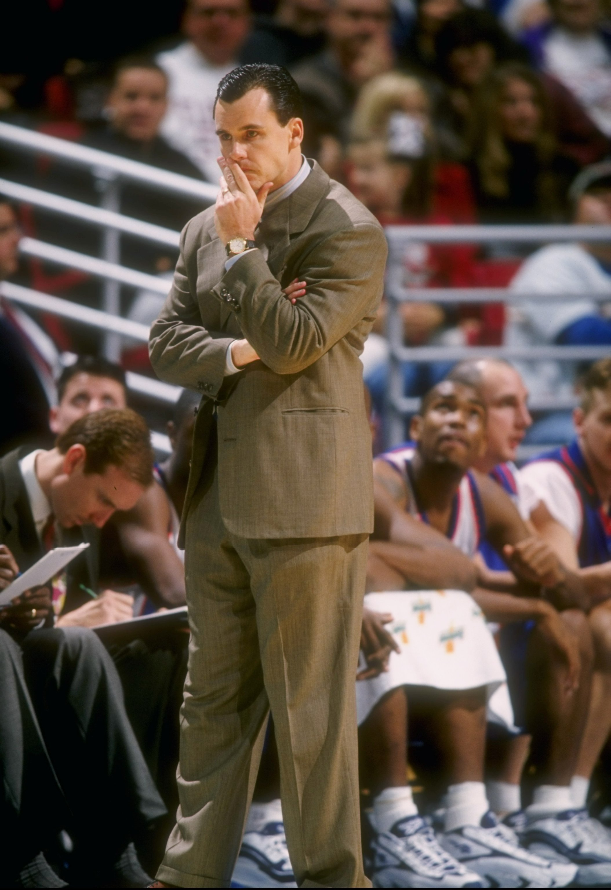 21 Dec 1996:  Florida Gators head coach Billy Donovan looks on during the Milk Challenge Classic against the Florida State Seminoles at Orlando Arena in Orlando, Florida.  FSU won the game, 79-65. Mandatory Credit: Andy Lyons  /Allsport
