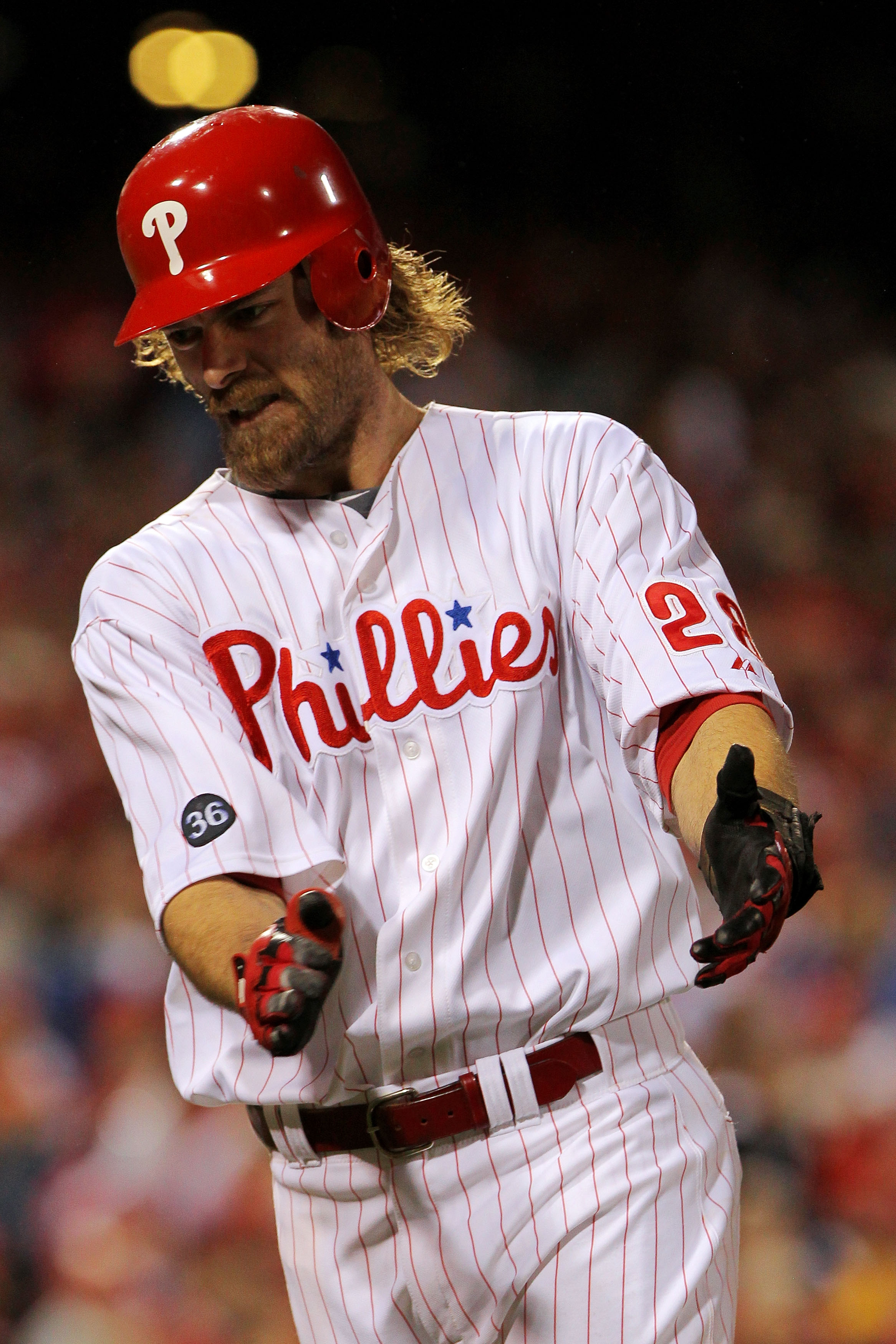 PHILADELPHIA - OCTOBER 23:  Jayson Werth #28 of the Philadelphia Phillies reacts after a sacrifice fly for an RBI against the San Francisco Giants in Game Six of the NLCS during the 2010 MLB Playoffs at Citizens Bank Park on October 23, 2010 in Philadelph