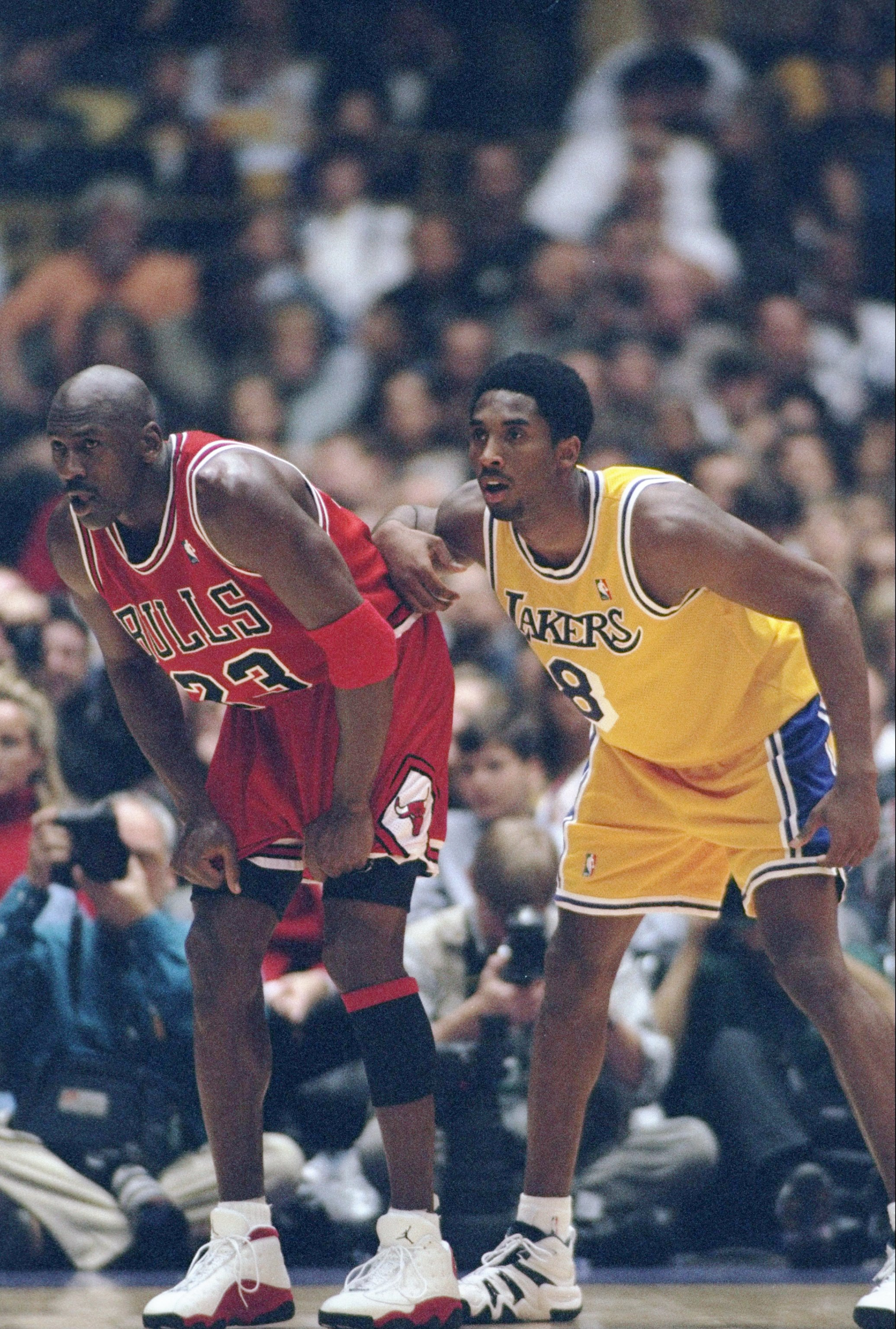 huge discount 5d970 a8573 1 Feb 1998  Guard Michael Jordan of the Chicago Bulls (left) and guard