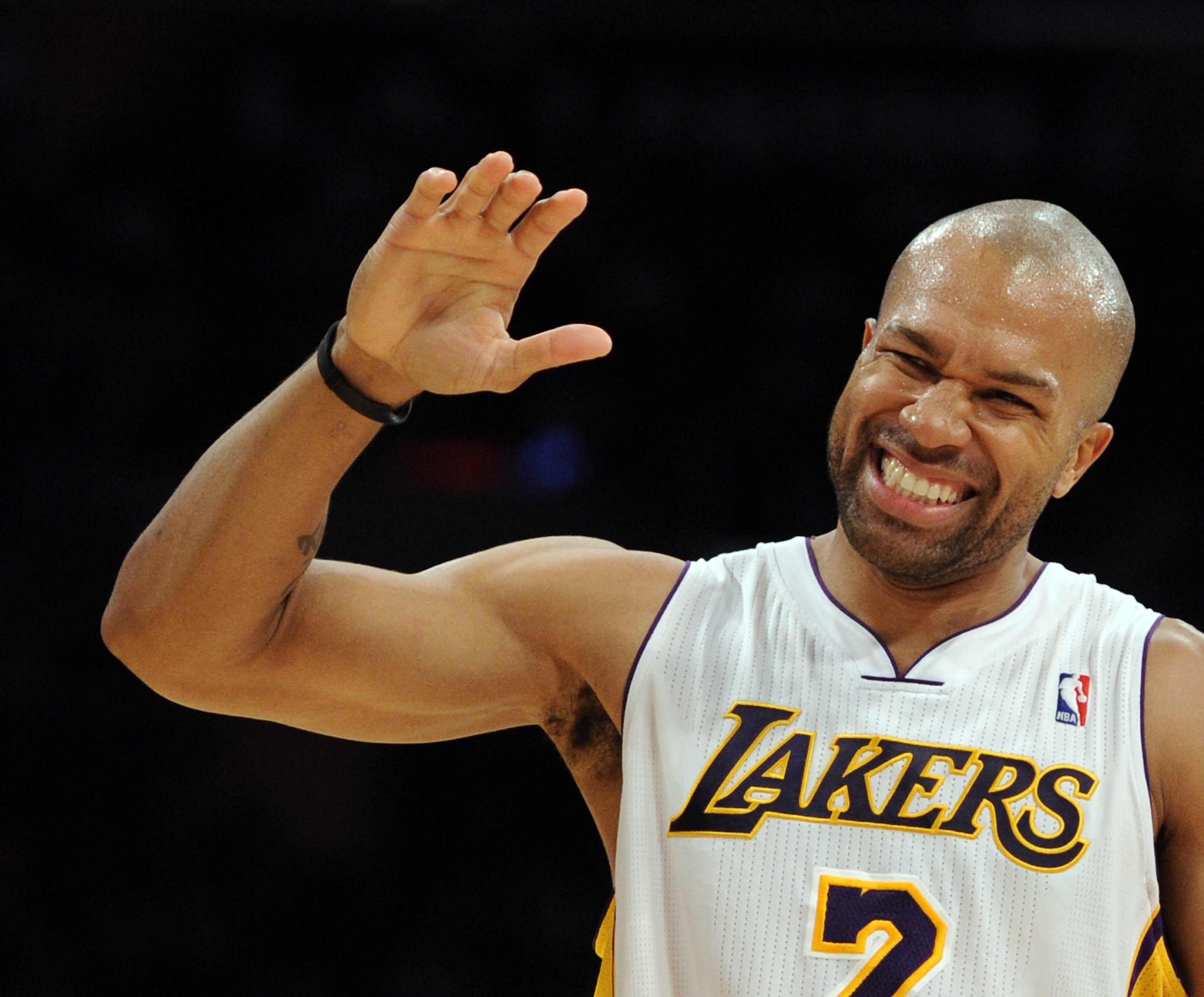 LOS ANGELES, CA - NOVEMBER 07:  Derek Fisher #2 of the Los Angeles Lakers reacts after being fouled against the Portland Trail Blazers during the first half at the Staples Center on November 7, 2010 in Los Angeles, California.  NOTE TO USER: User expressl