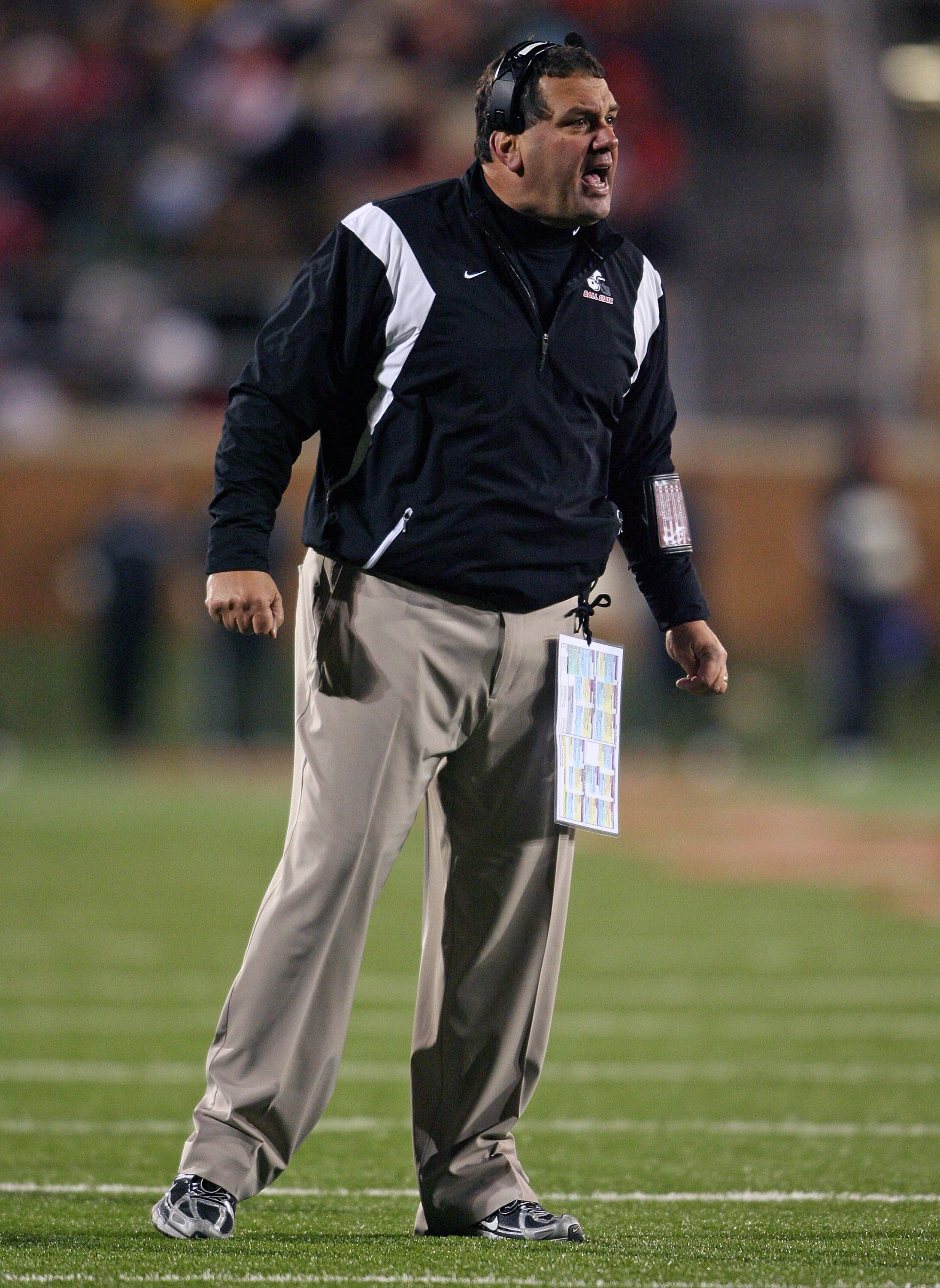 MUNCIE, IN - NOVEMBER 25:  Head coach Brady Hoke of the Ball State Cardinals stands on the field during the Mid-American Conference (MAC) game against the Western Michigan Broncos at Scheumann Stadium November 25, 2008 in Muncie, Indiana.  (Photo by Andy