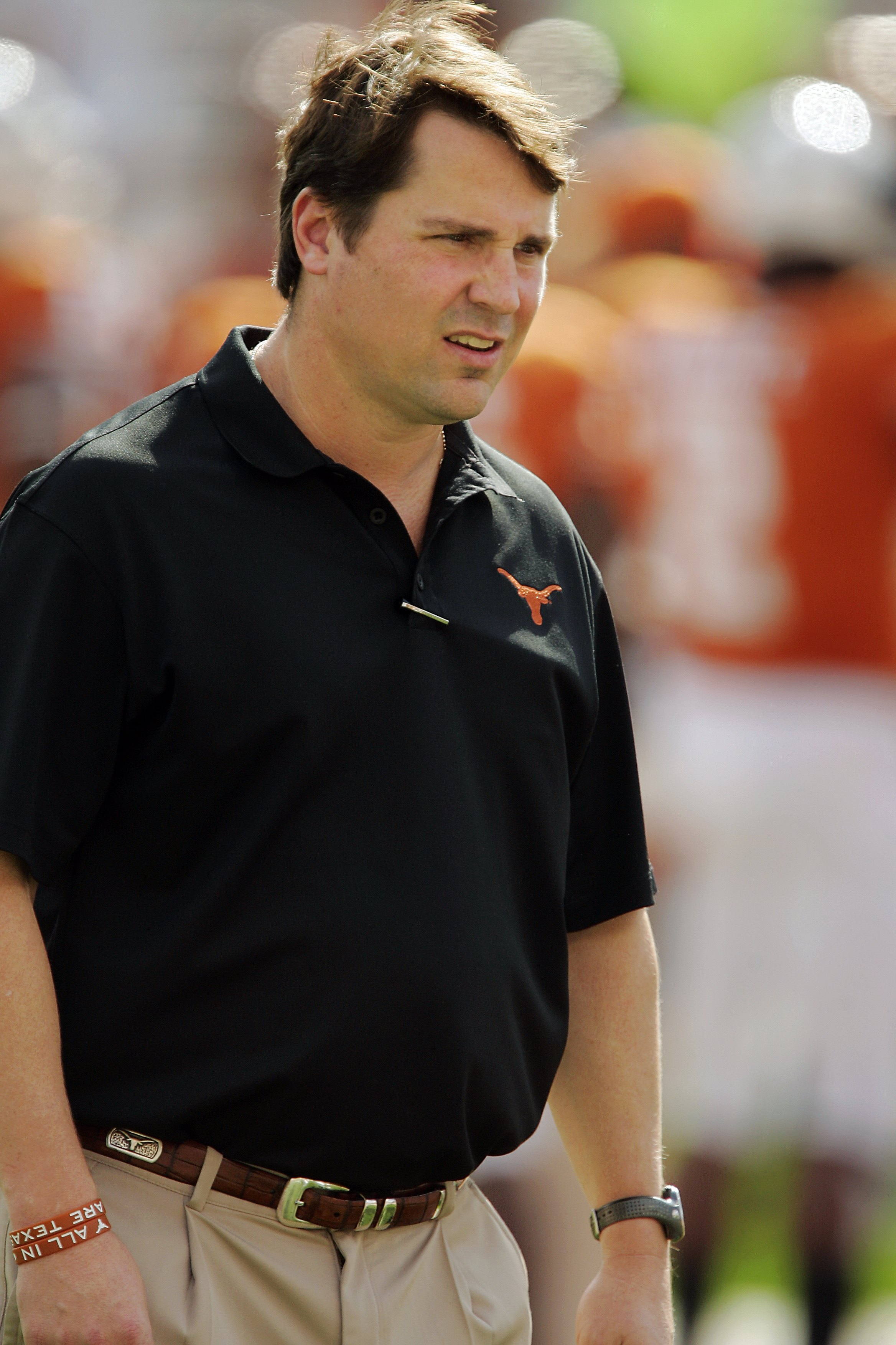 AUSTIN, TX - NOVEMBER 07:  Defensive coordinator Will Muschamp of the Texas Longhorns watches the defense prepare against the UCF Knights on November 7, 2009 at Darrell K Royal - Texas Memorial Stadium in Austin, Texas.  Texas won 35-3.  (Photo by Brian B