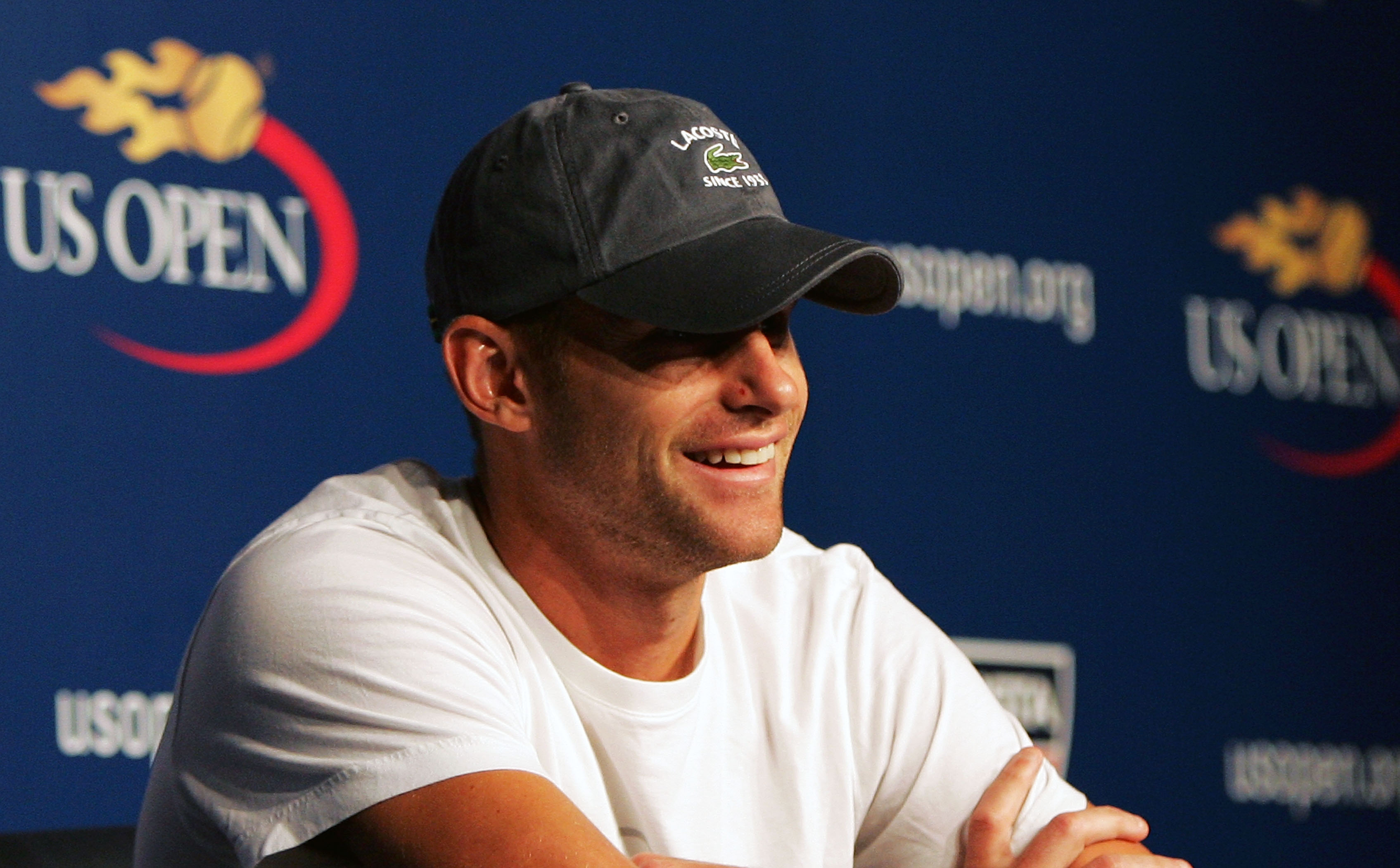 buy online 3573b 837b2 NEW YORK - AUGUST 28  Andy Roddick talks to the media during a press  conference
