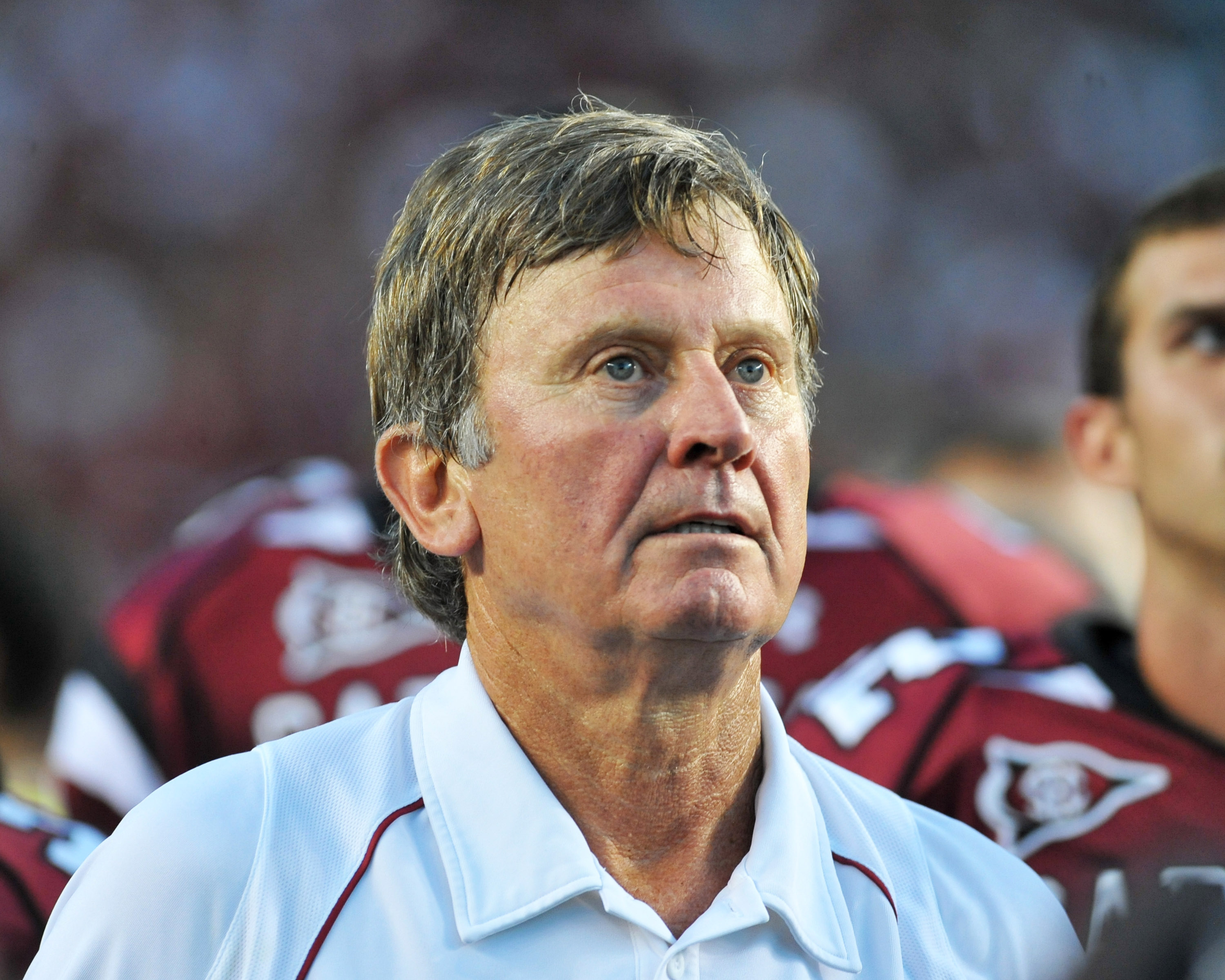 COLUMBIA, SC - OCTOBER 9: Coach Steve Spurrier of the South Carolina Gamecocks checks the scoreboard after play against the Alabama Crimson Tide October 9, 2010 at Williams-Brice Stadium in Columbia, South Carolina.  (Photo by Al Messerschmidt/Getty Image