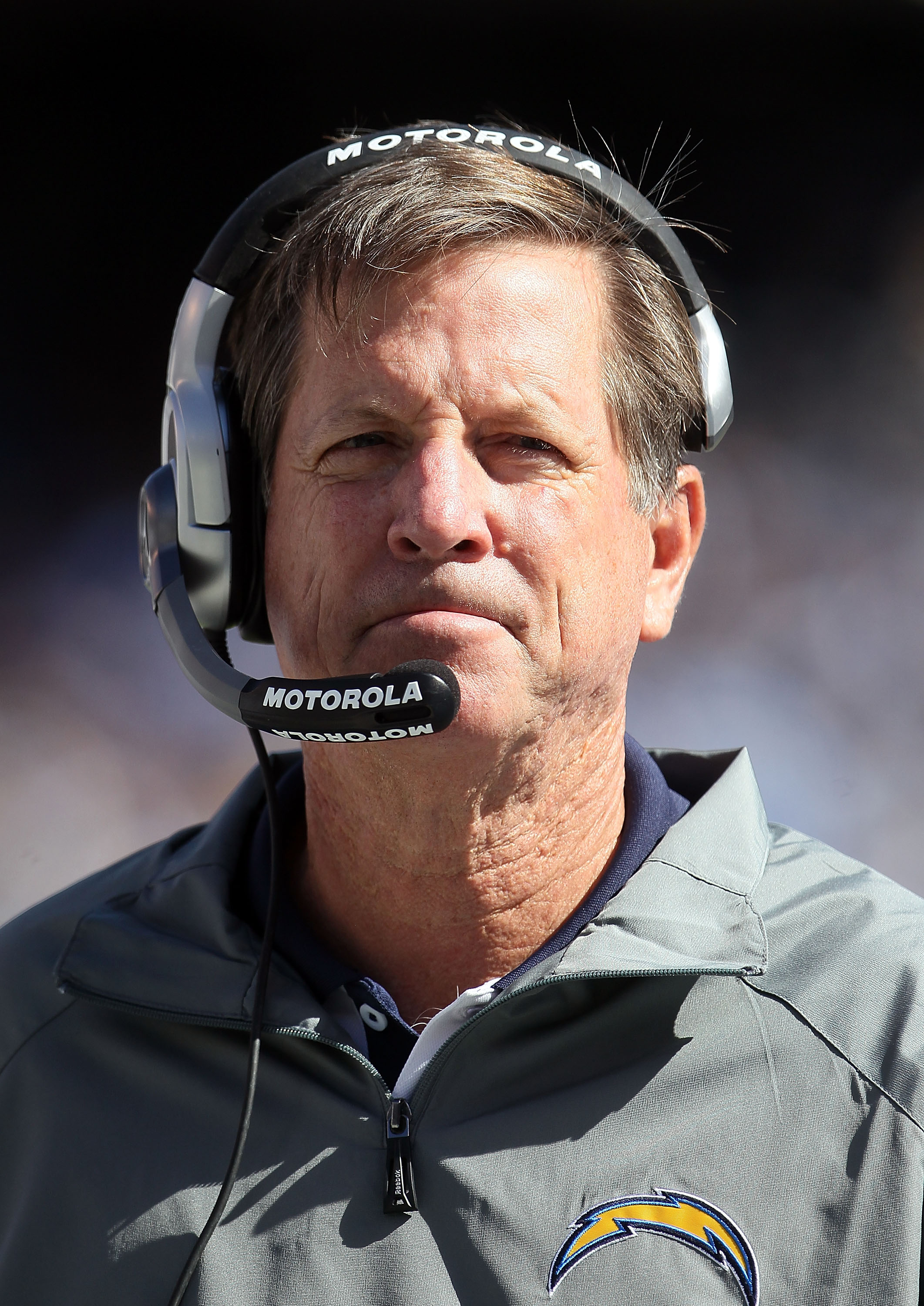 SAN DIEGO - OCTOBER 31:  San Diego Chargers head coach Norv Turner looks on from the sideline against the Tennessee Titans at Qualcomm Stadium on October 31, 2010 in San Diego, California. The Chargers defeated the Titans 33-25.  (Photo by Jeff Gross/Gett