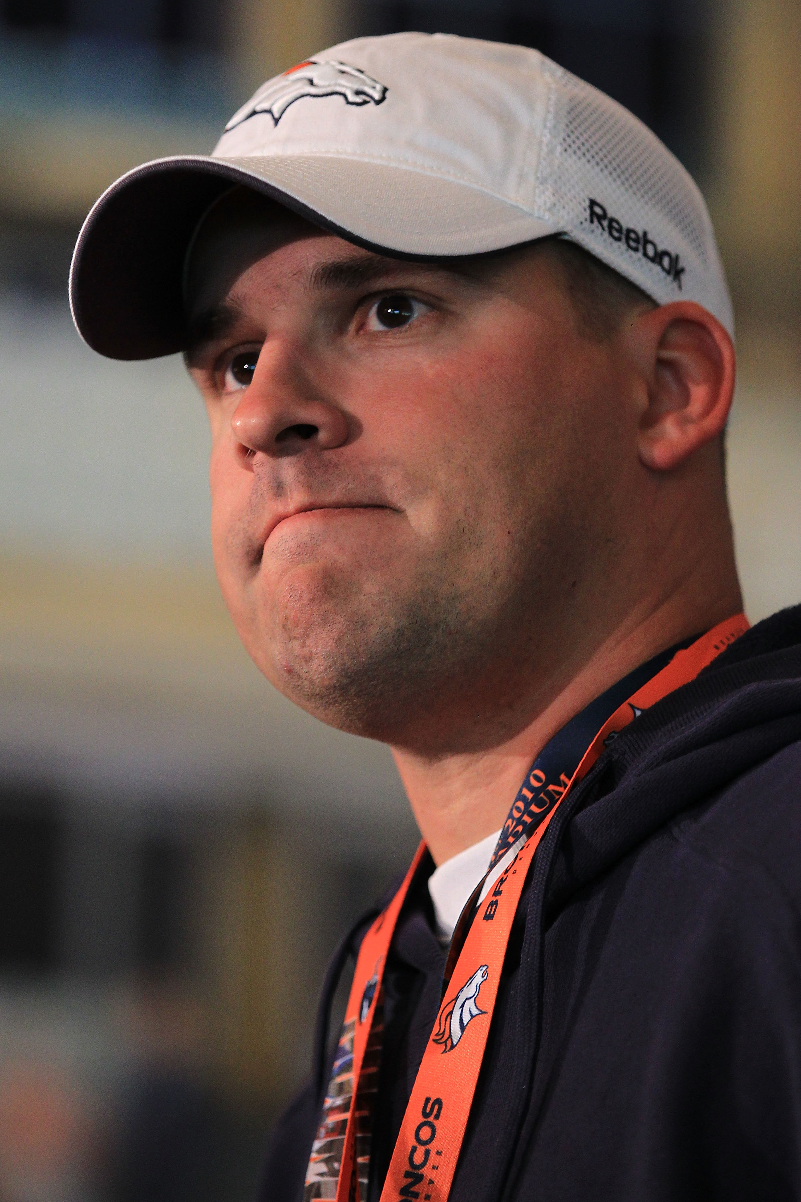 LONDON, ENGLAND - OCTOBER 29:  Head coach of the Denver Broncos Josh McDaniels speaks to the media during a press conference prior to the start of a team training session at The Brit Oval on October 29, 2010 in London, England. The Denver Broncos will pla