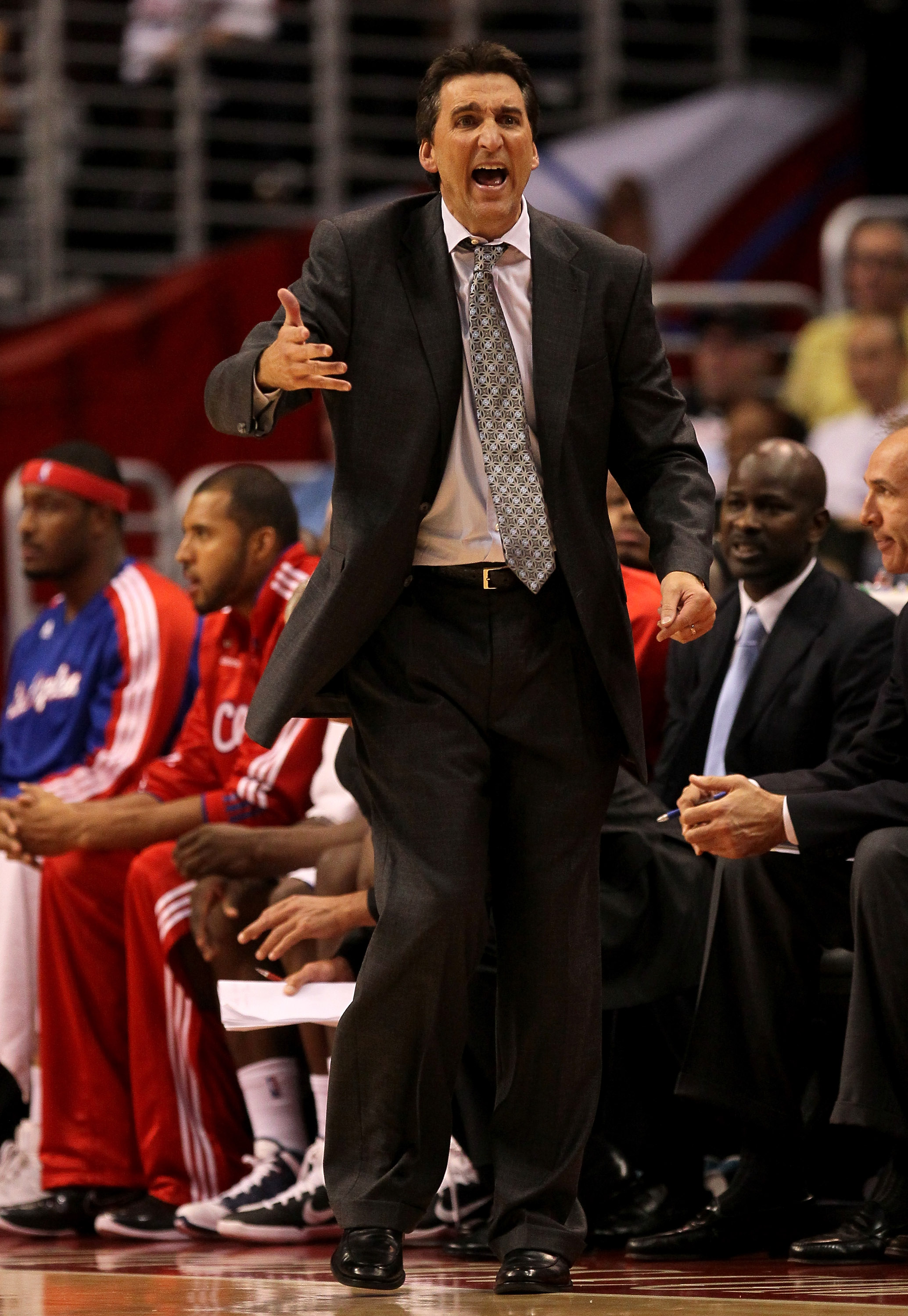 LOS ANGELES - NOVEMBER 3:  Head coach Vinny Del Negro of the Los Angeles Clippers complains to the referees during the game with the Oklahoma City Thunder at Staples Center on November 3, 2010 in Los Angeles, California. The Clippers won 107-92.  NOTE TO