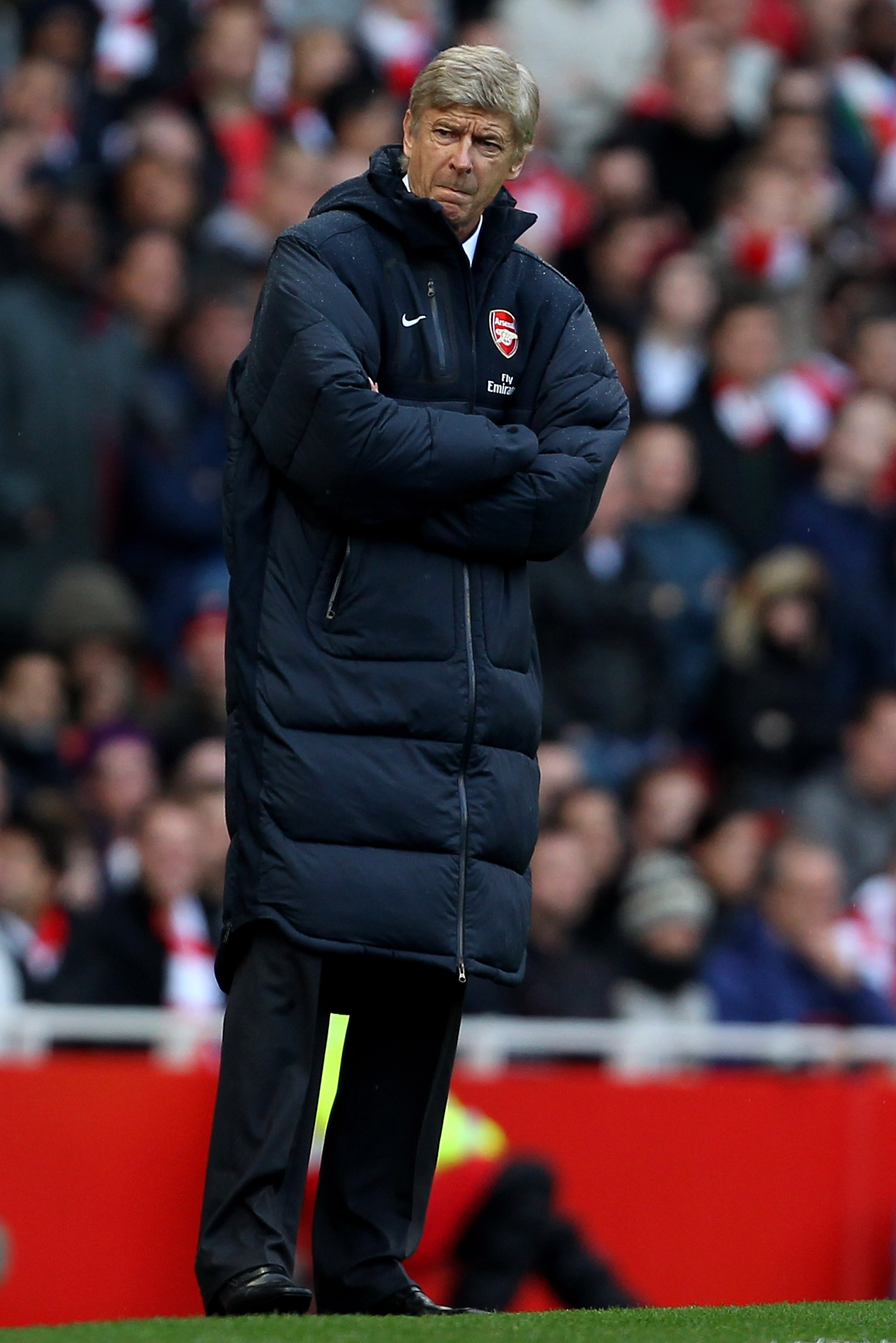 LONDON, ENGLAND - OCTOBER 30:  Manager Arsene Wenger looks on from the the touchline during the Barclays Premier League match between Arsenal and West Ham United at Emirates Stadium on October 30, 2010 in London, England.  (Photo by Clive Rose/Getty Image
