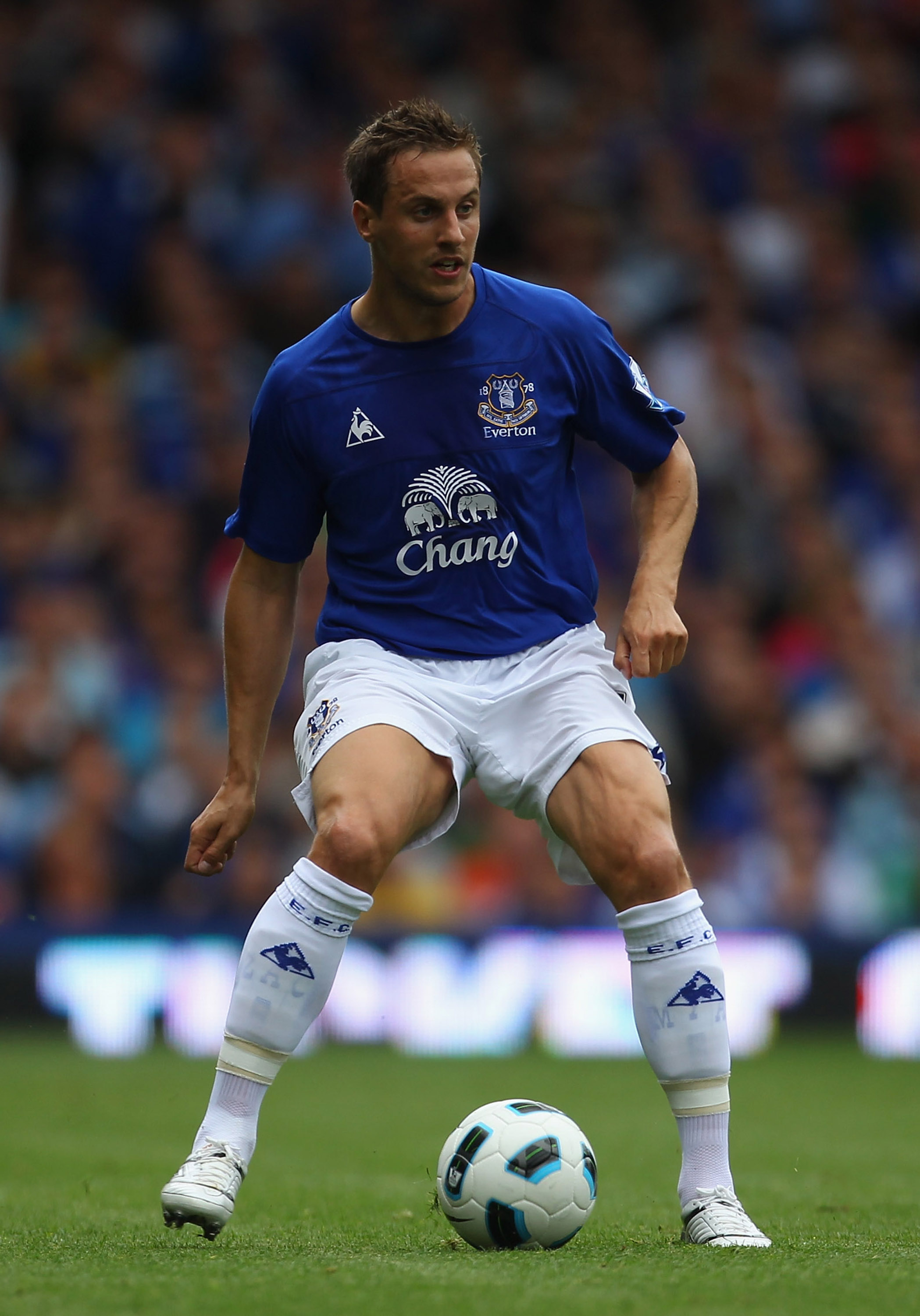 LIVERPOOL, ENGLAND - AUGUST 21:  Phil Jagielka of Everton during the Barclays Premier League match between Everton and Wolverhampton Wanderers at Goodison Park on August 21, 2010 in Liverpool, England.  (Photo by Alex Livesey/Getty Images)