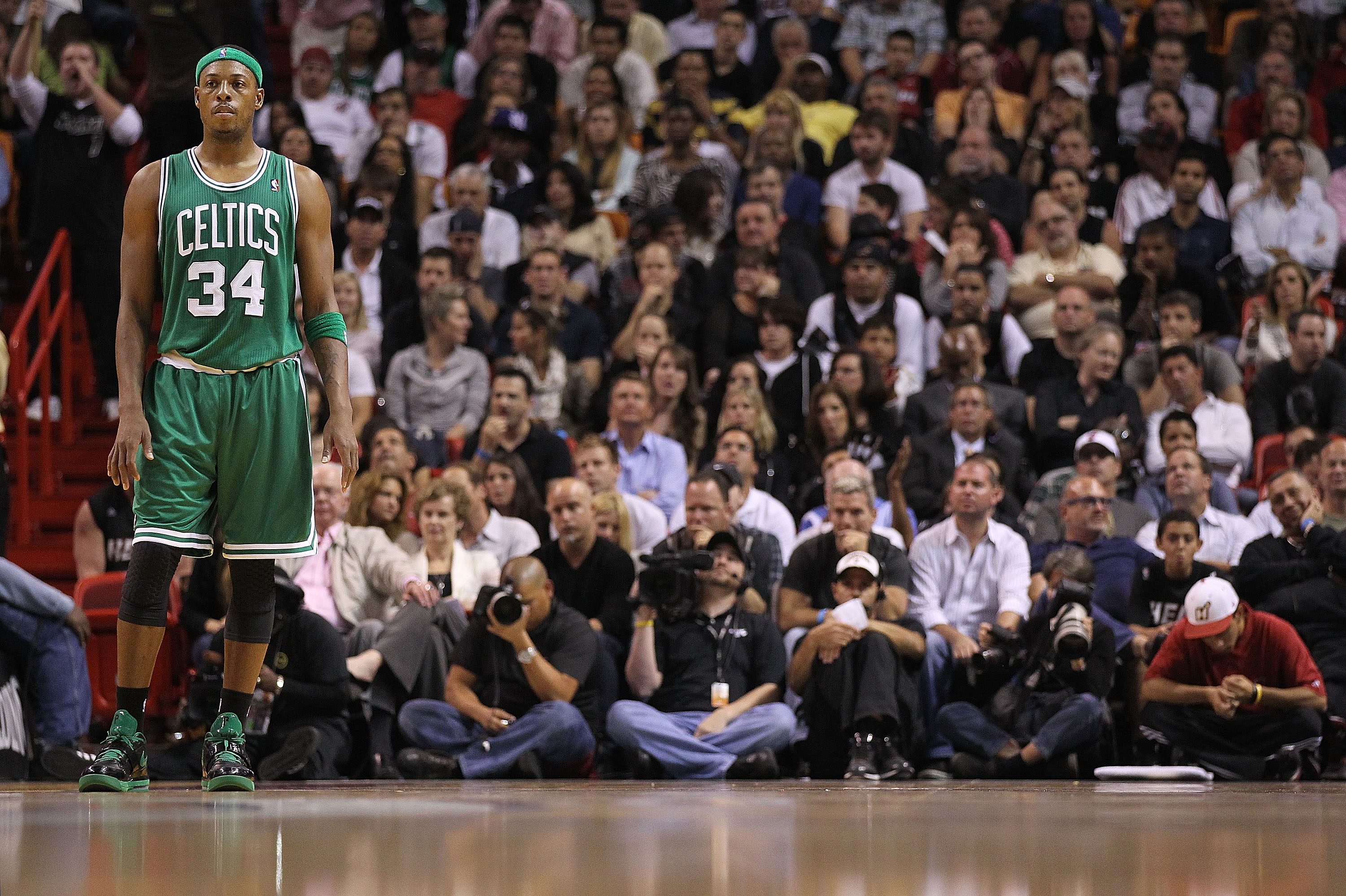 MIAMI - NOVEMBER 11:  Paul Pierce #34 of the Boston Celtics waits during a foul shot during a game against the Miami Heat at American Airlines Arena on November 11, 2010 in Miami, Florida. NOTE TO USER: User expressly acknowledges and agrees that, by down