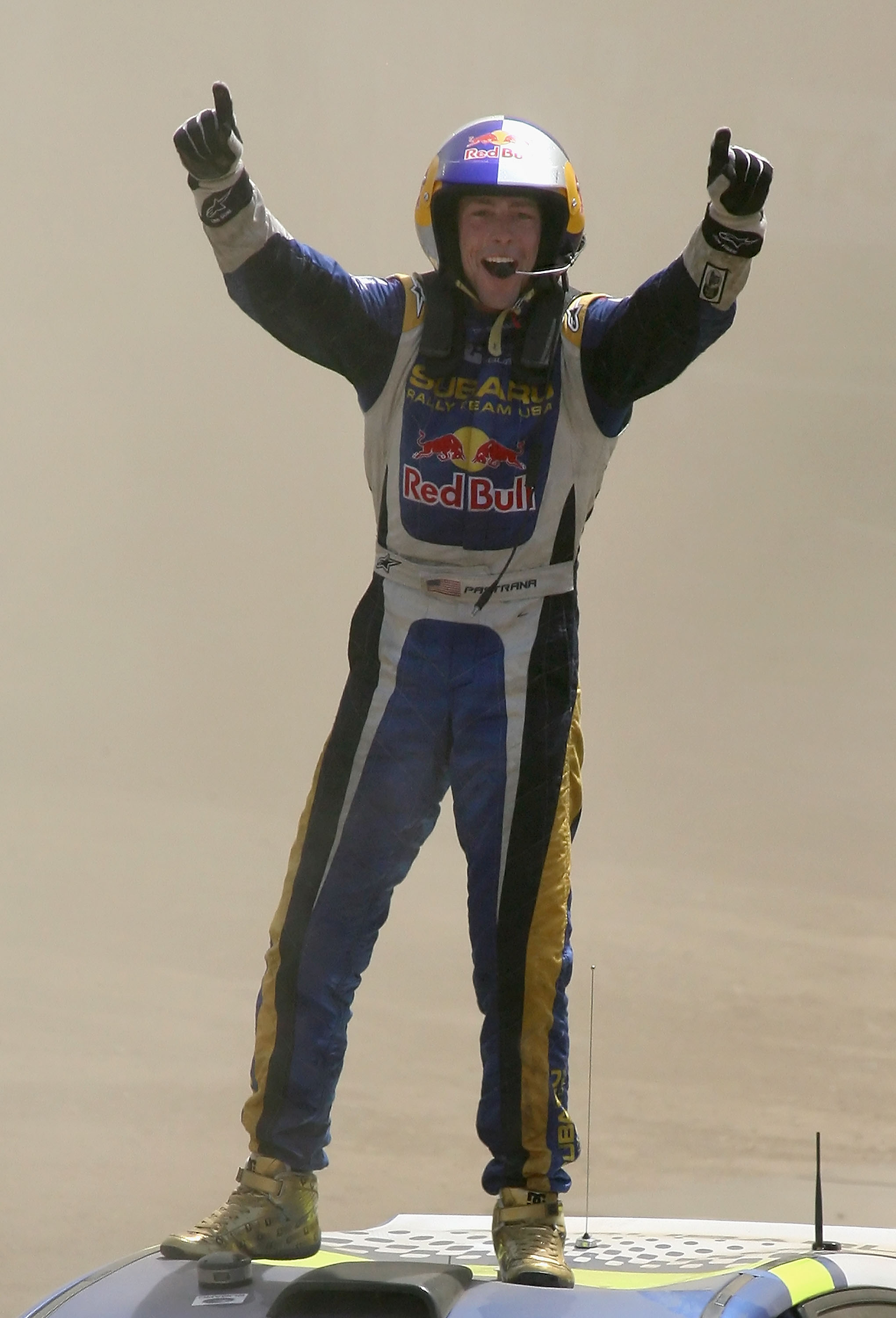 CARSON, CA - AUGUST 03:  Gold medal winner Travis Pastrana celebrates after winning the Rally Car race during the summer X Games 14 at Home Depot Center on August 3, 2008 in Carson, California.  (Photo by Christian Petersen/Getty Images)