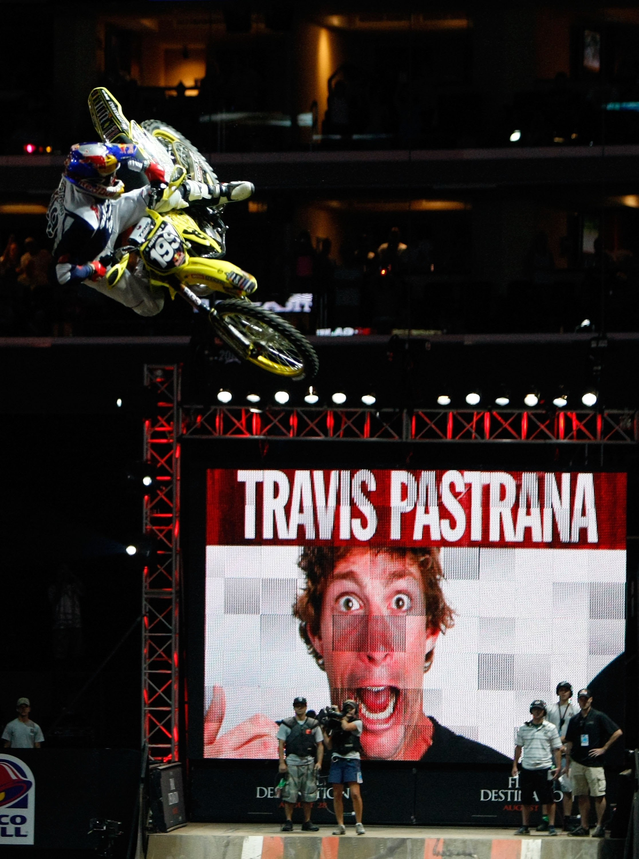 LOS ANGELES, CA - JULY 31:  Travis Pastrana competes before crashing in the Moto X Best Trick Final during X Games 15 at Staples Center on July 31, 2009 in Los Angeles, California.  (Photo by Jeff Gross/Getty Images)
