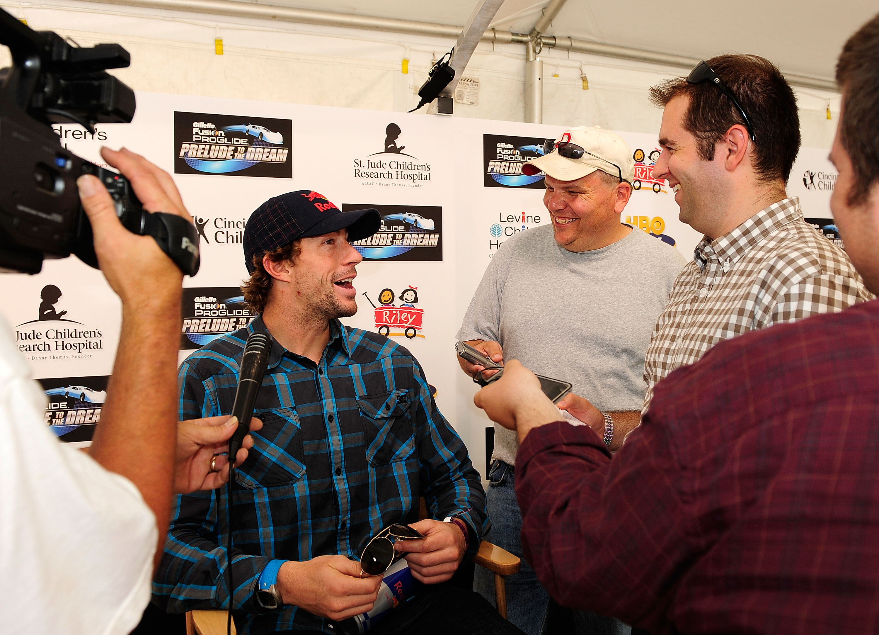 ROSSBURG, OH - JUNE 09:  Travis Pastrana, driver of the #199 Red Bull late model Toyota, speaks with the media prior to the Gillette Fusion ProGlide Prelude to the Dream at Eldora Speedway on June 9, 2010 in Rossburg, Ohio.  (Photo by Rusty Jarrett/Getty