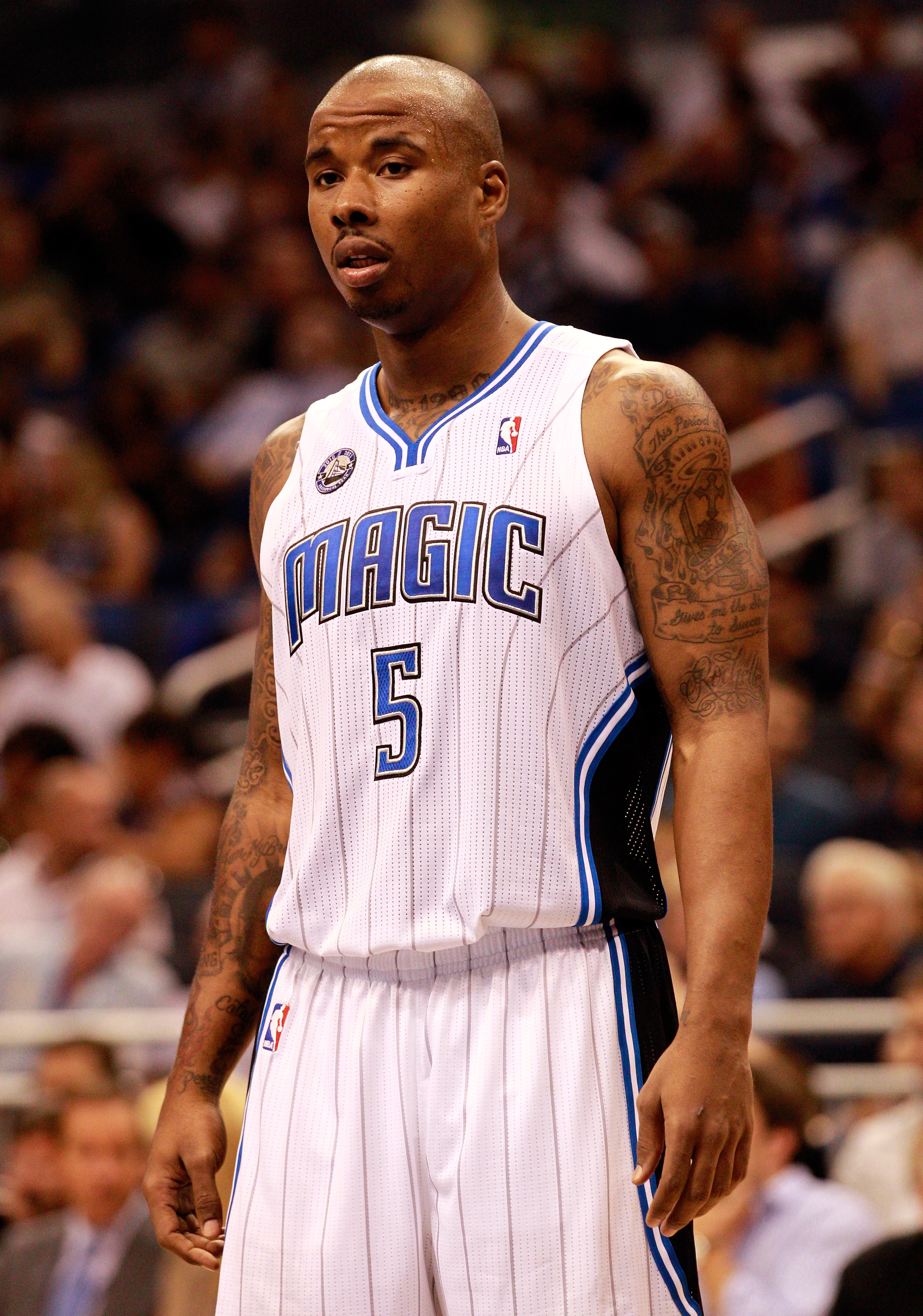 ORLANDO, FL - OCTOBER 10:  Quentin Richardson #5 of the Orlando Magic waits to enter the game against the New Orleans Hornets at Amway Arena on October 10, 2010 in Orlando, Florida. NOTE TO USER: User expressly acknowledges and agrees that, by downloading