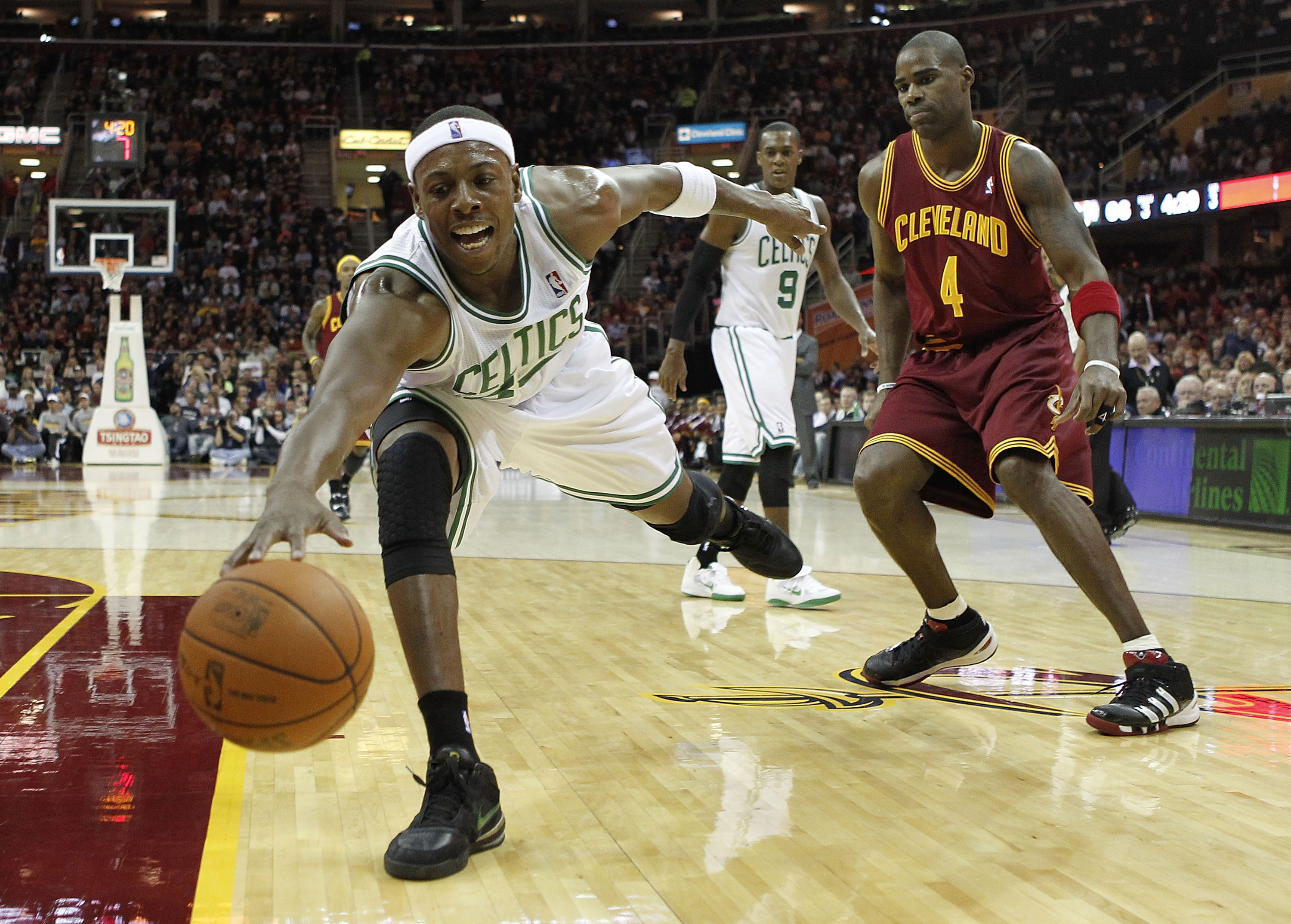 CLEVELAND - OCTOBER 27: Paul Pierce #24 of the Boston Celtics tries to keep the ball from going out of bounds in front of Antawn Jamison #4 at Quicken Loans Arena on October 27, 2010 in Cleveland, Ohio. Cleveland won the game 95-87.  (Photo by Gregory Sha
